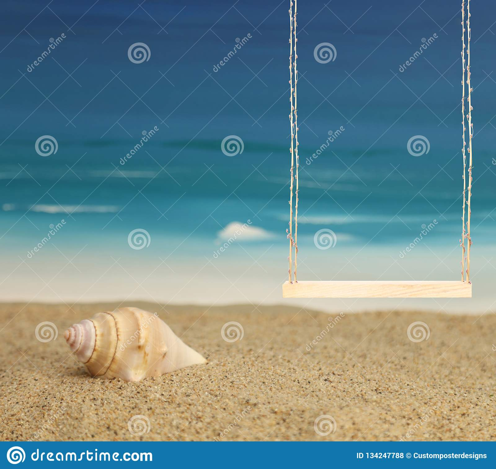 A beach background with a swing for portrait photography.