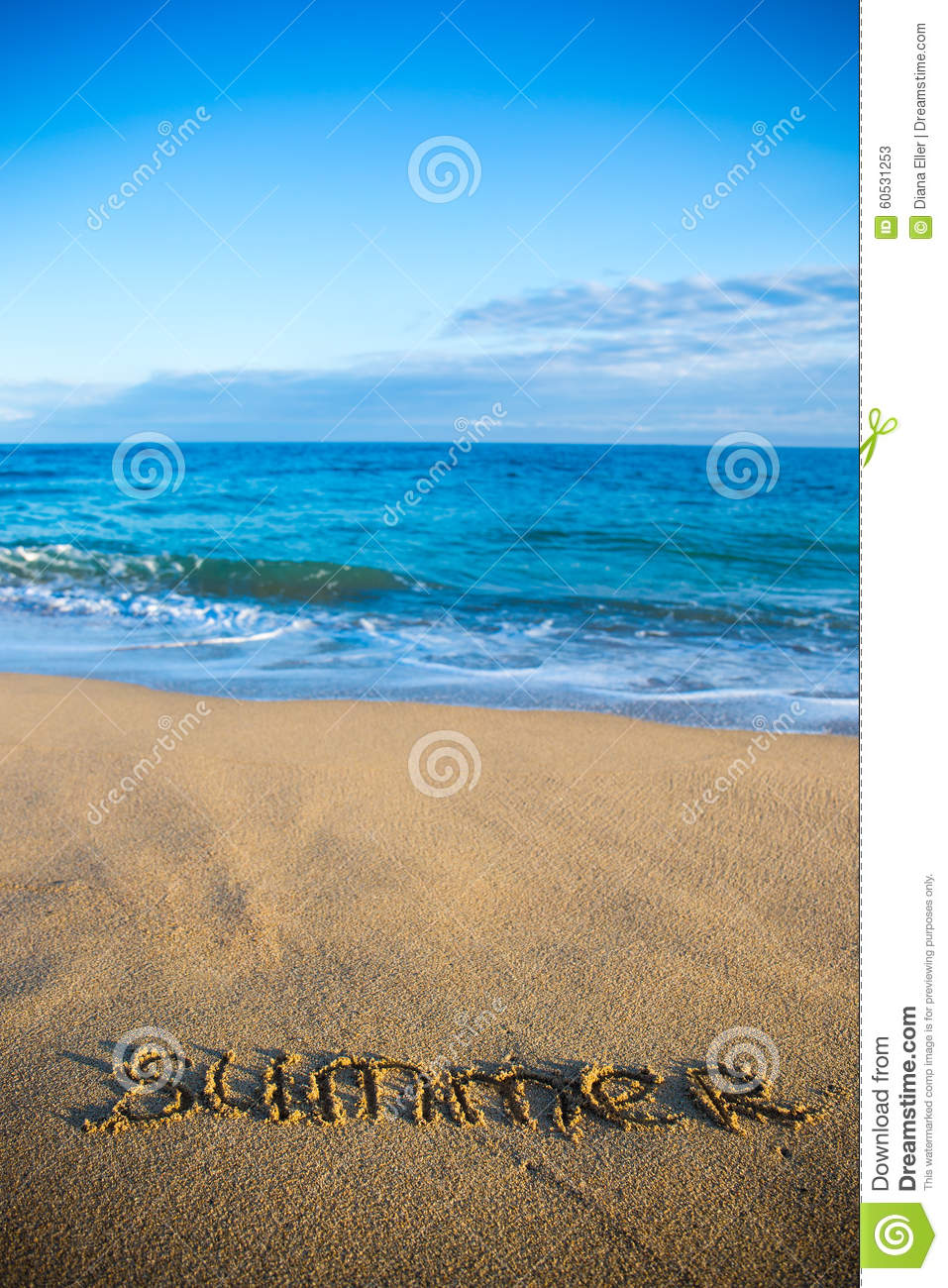 Background image in word - Beach Background With Word Summer Written In Sand Stock Photo