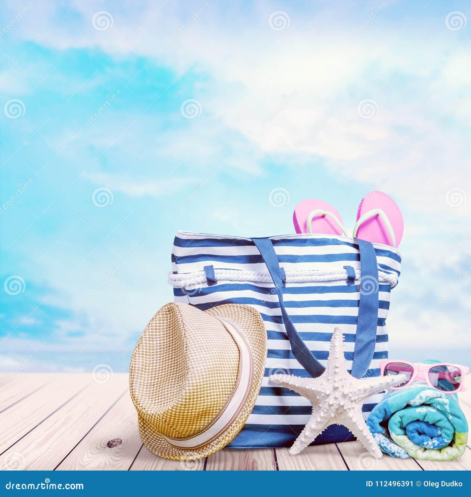 bdcf9a20c Beach Bag On Sand Of Tropical Beach Stock Image - Image of coastal ...