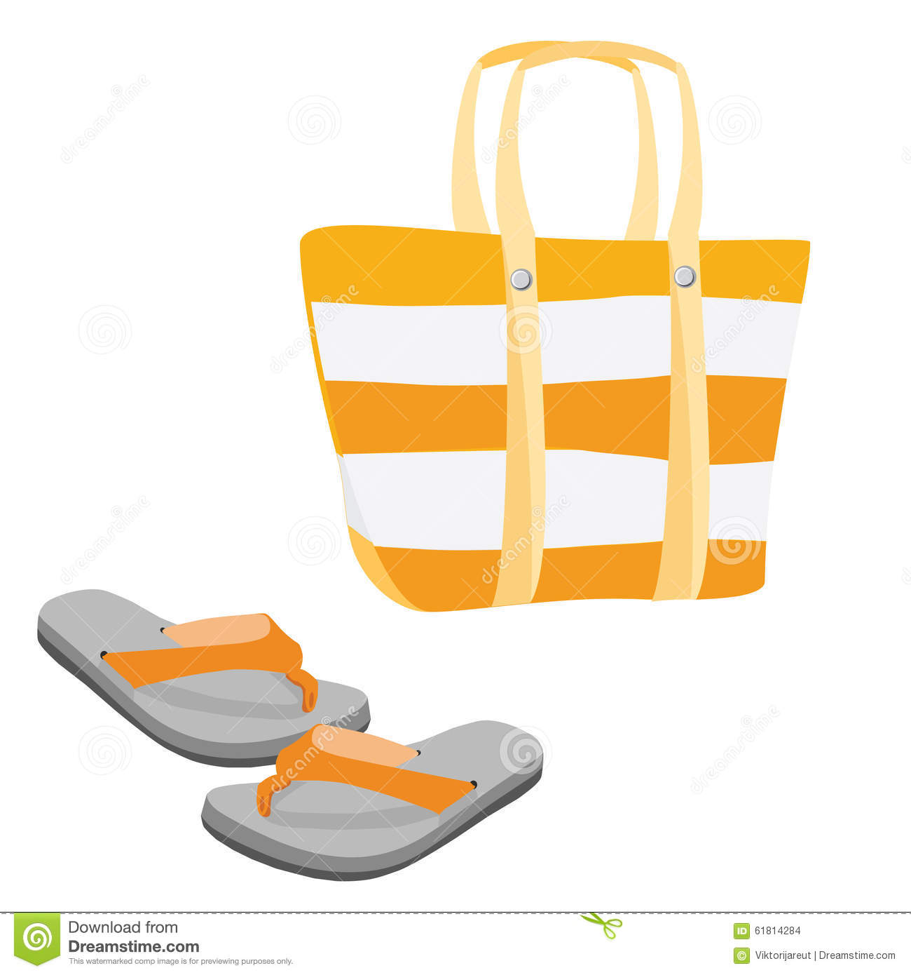 Beach Bag And Sandals Stock Illustration - Image: 61814284