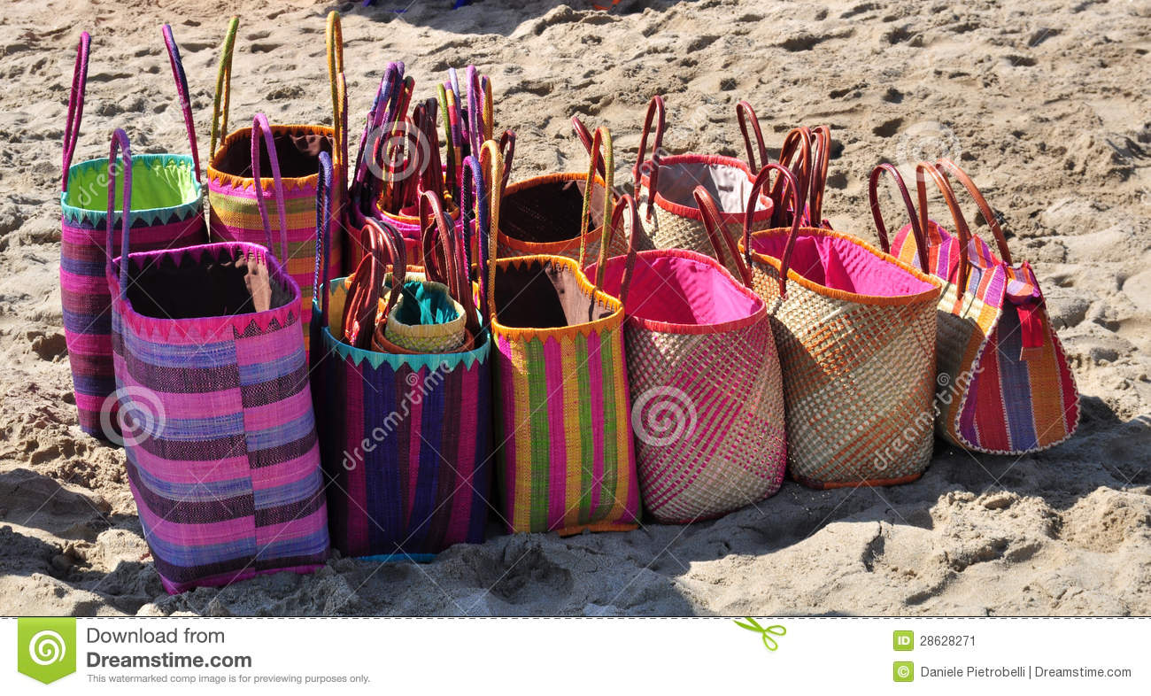 Beach Bags For Sale Stock Image Image Of Sell Holidays 28628271