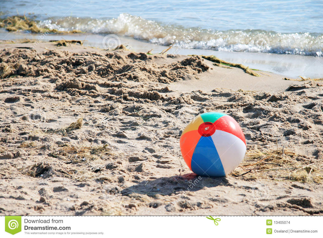Beach Ball On Beach Stock Images - Image: 13405074