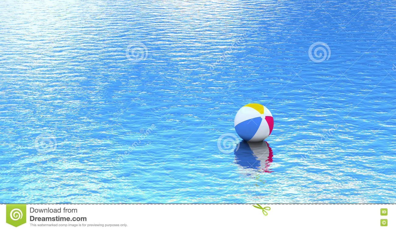 Beach Ball In Water beach ball floating on blue water stock illustration - image: 71760938