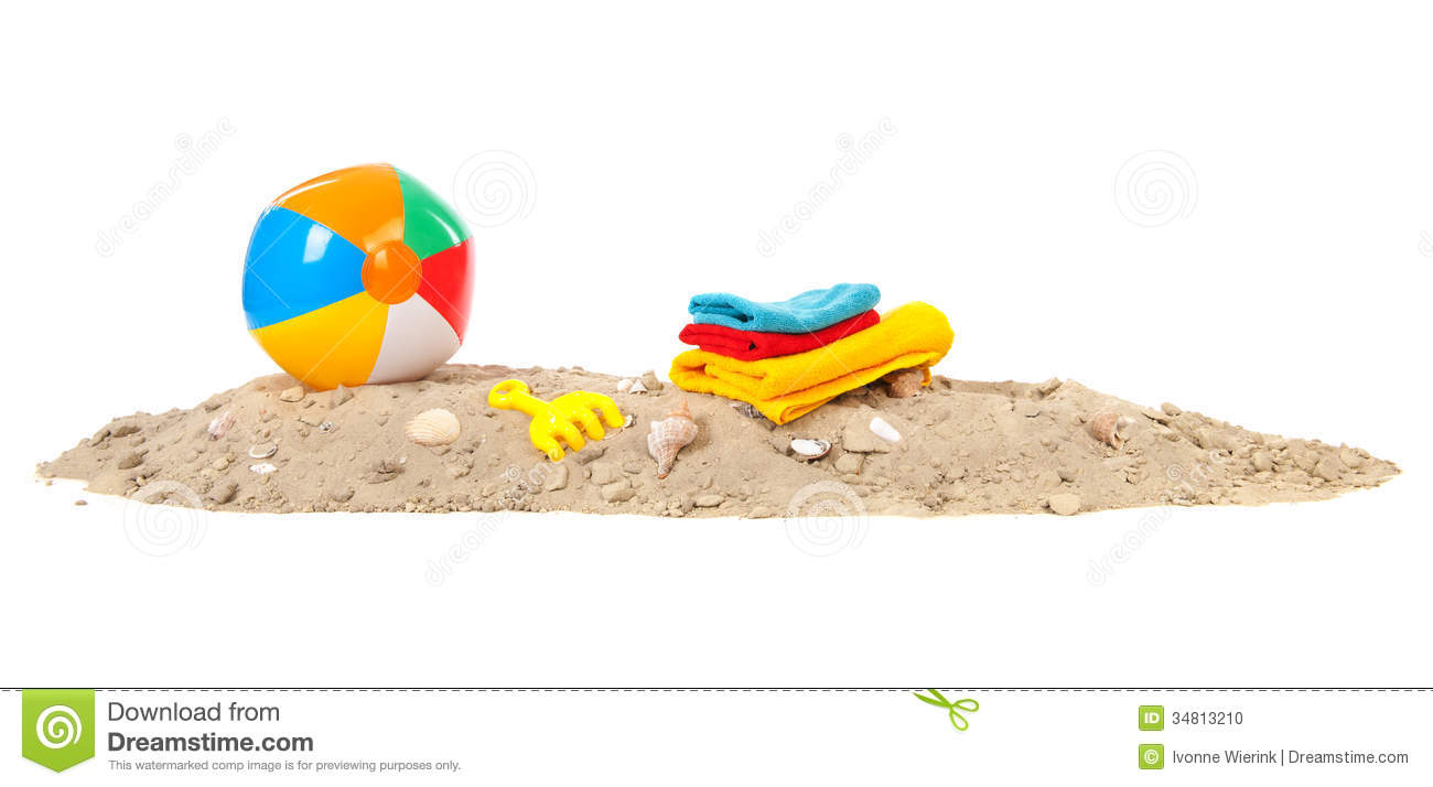 Beach ball,towels and toys stock photo. Image of shovel ...