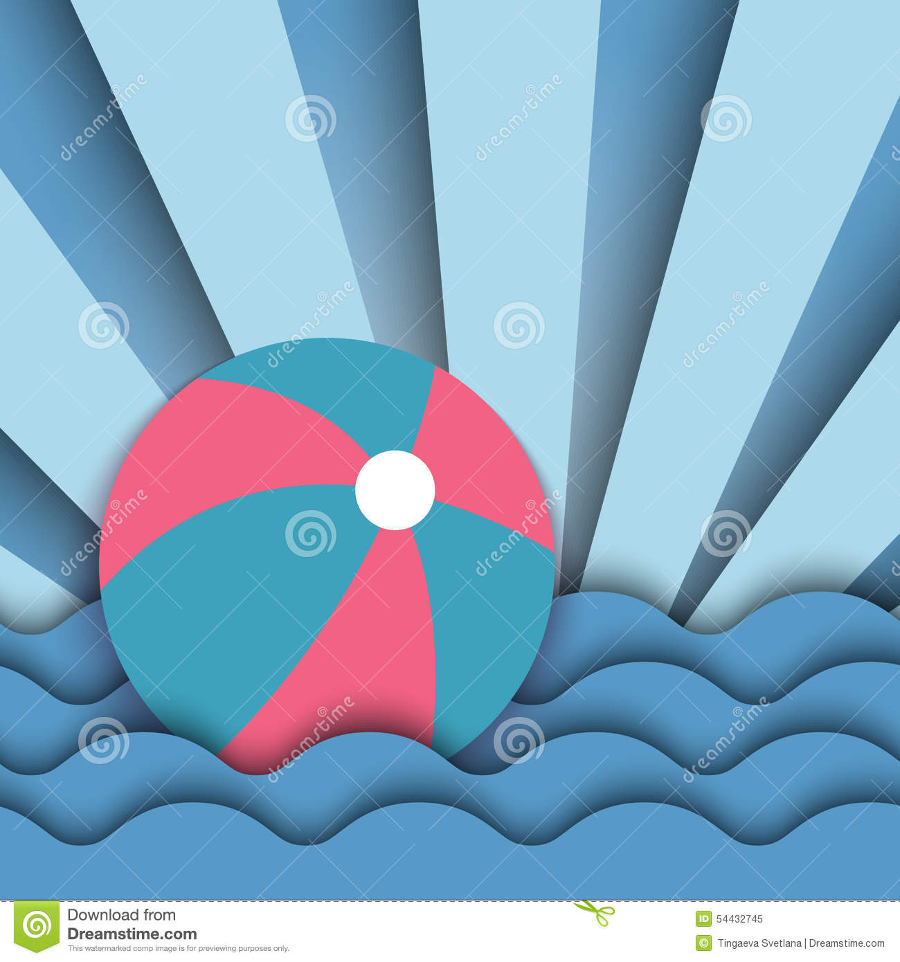 Beach Ball In Water beach ball on the waves of the water stock vector - image: 54432745