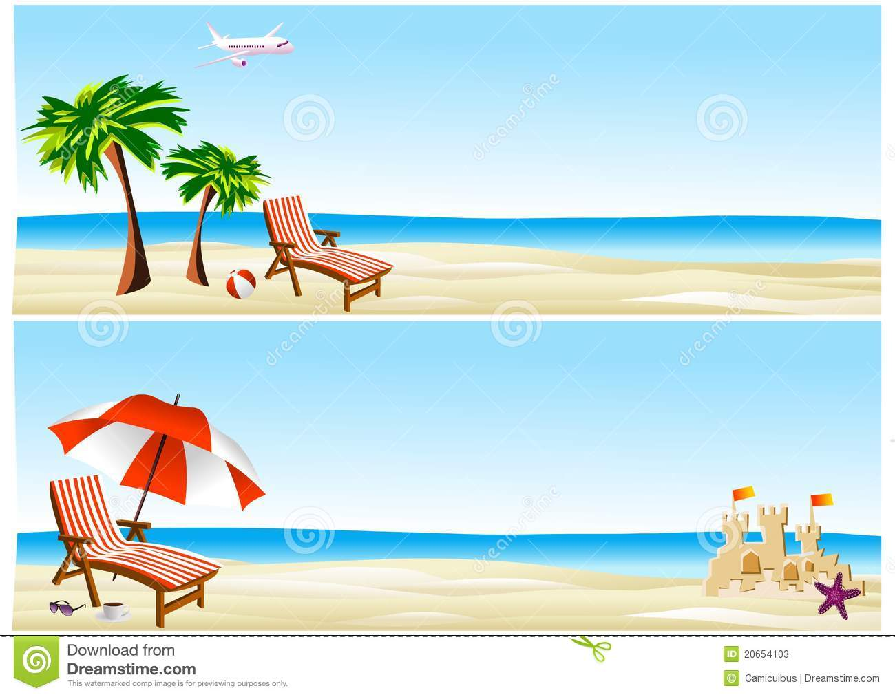 Beach banners stock illustration. Image of ocean, chair ...