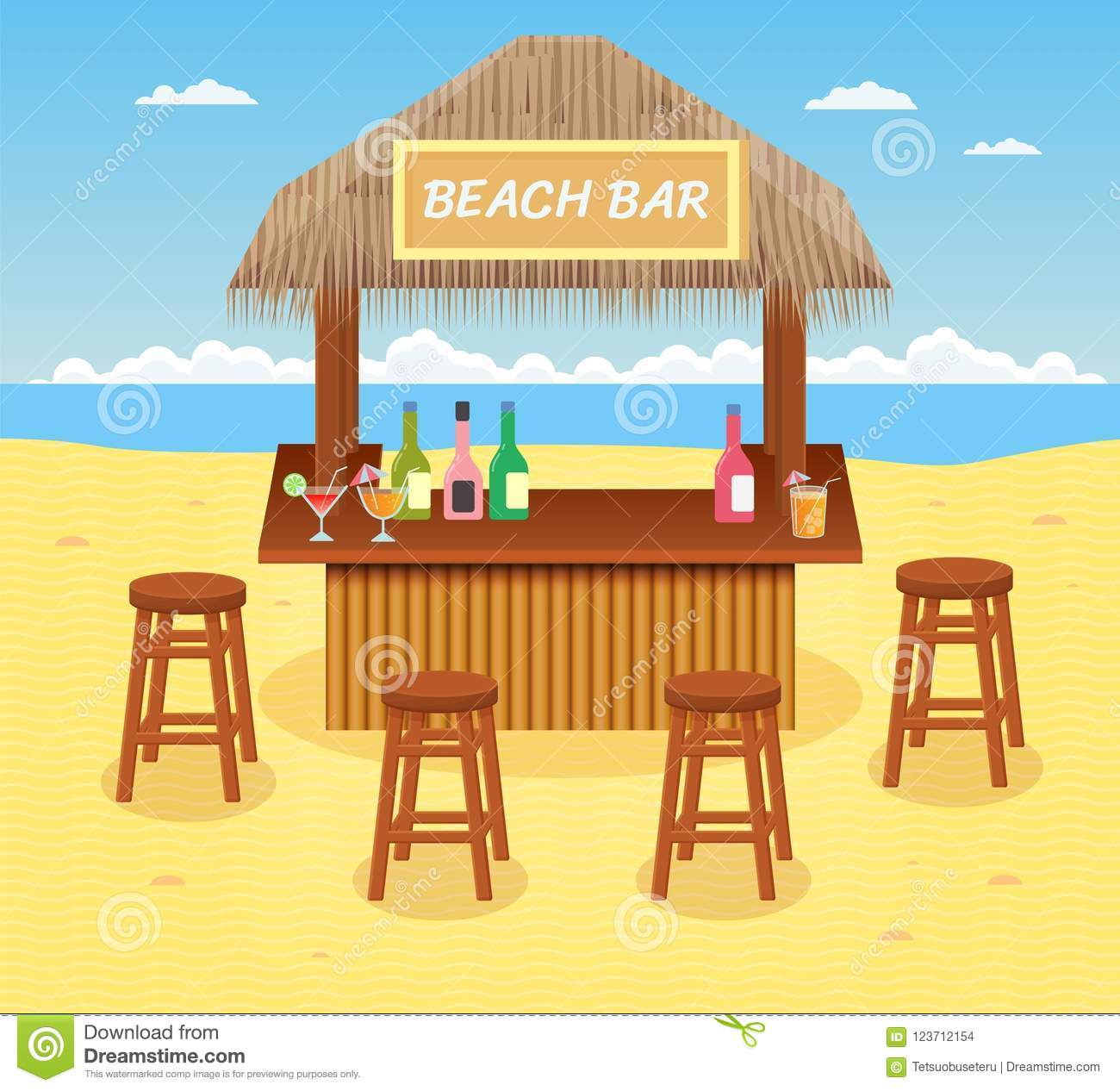Beach Bar With Cocktails And Drinks Concept Of Summer