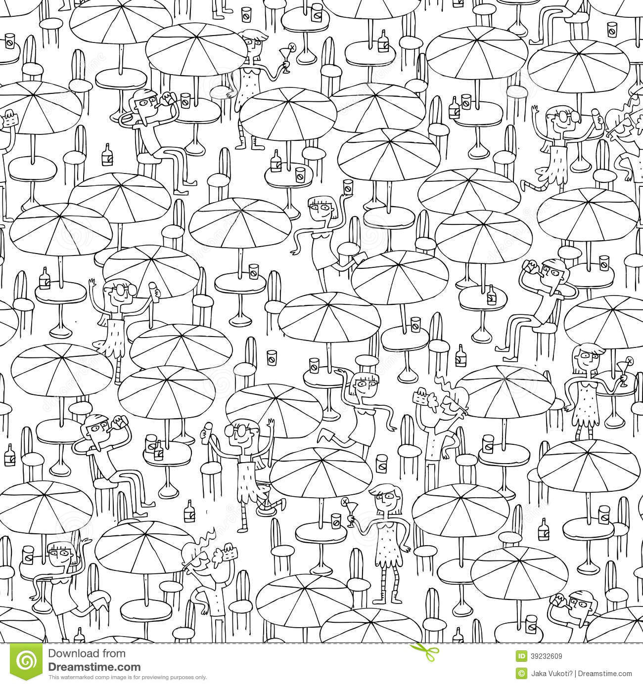 Beach Bar Seamless Pattern In Black And White Stock Vector