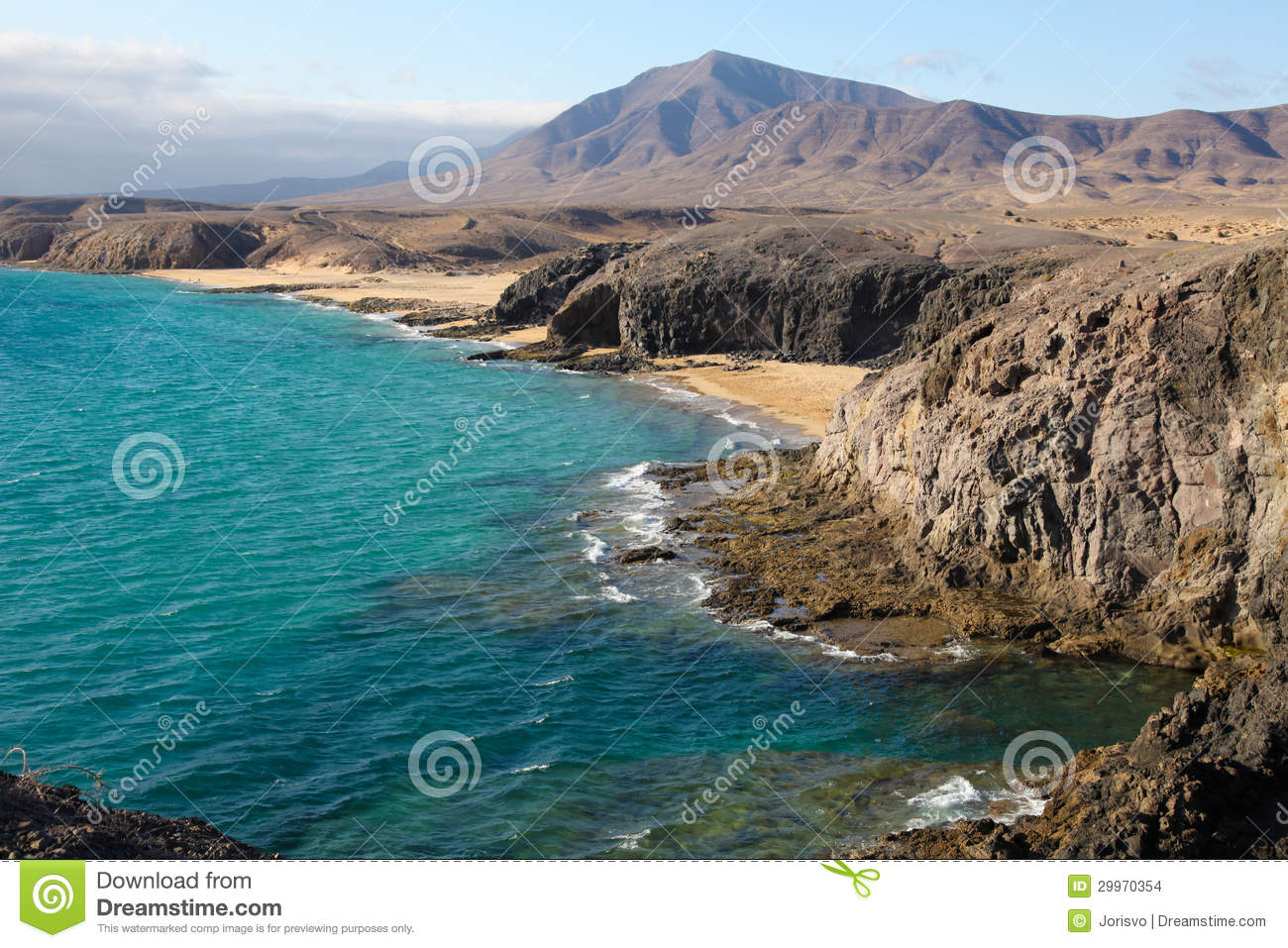 Lanzarote Spain  city images : Beach and bay, Lanzarote, Spain View of a beautiful bay and beach at ...