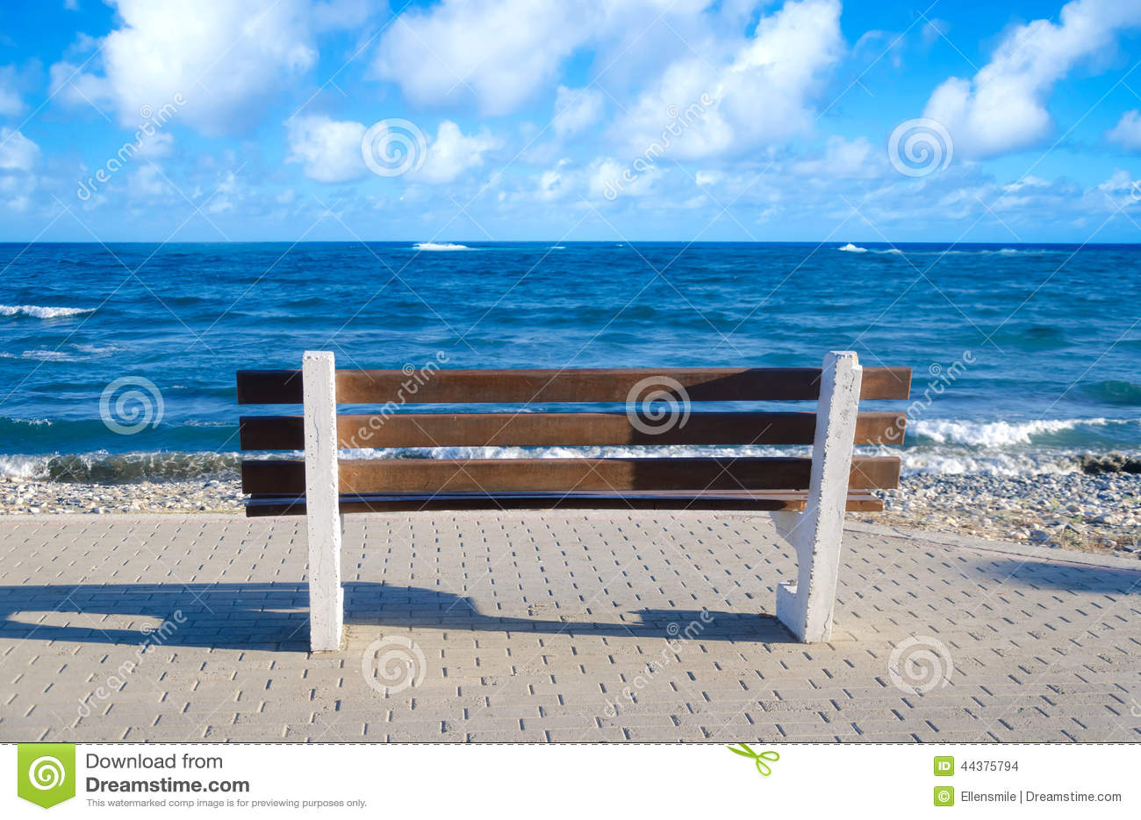 Beach Bench Stock Photo Image 44375794