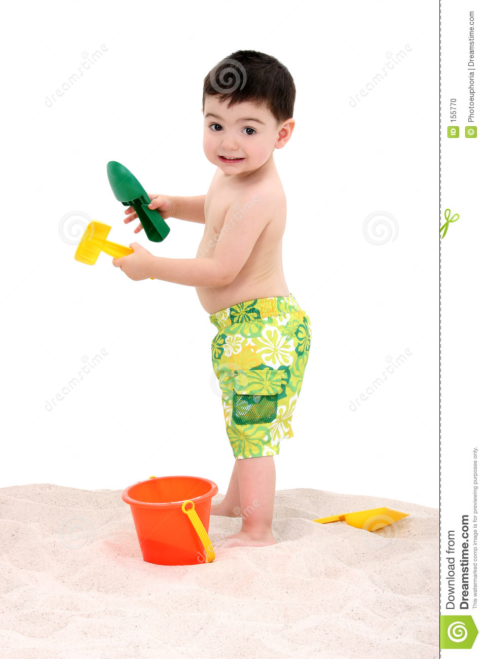 Beach Boy Toddler With Toys In The Sand