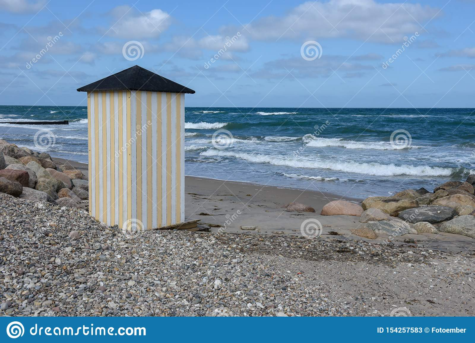 Beach Cabins Of The Coast At Regeleje In Denmark Stock Image
