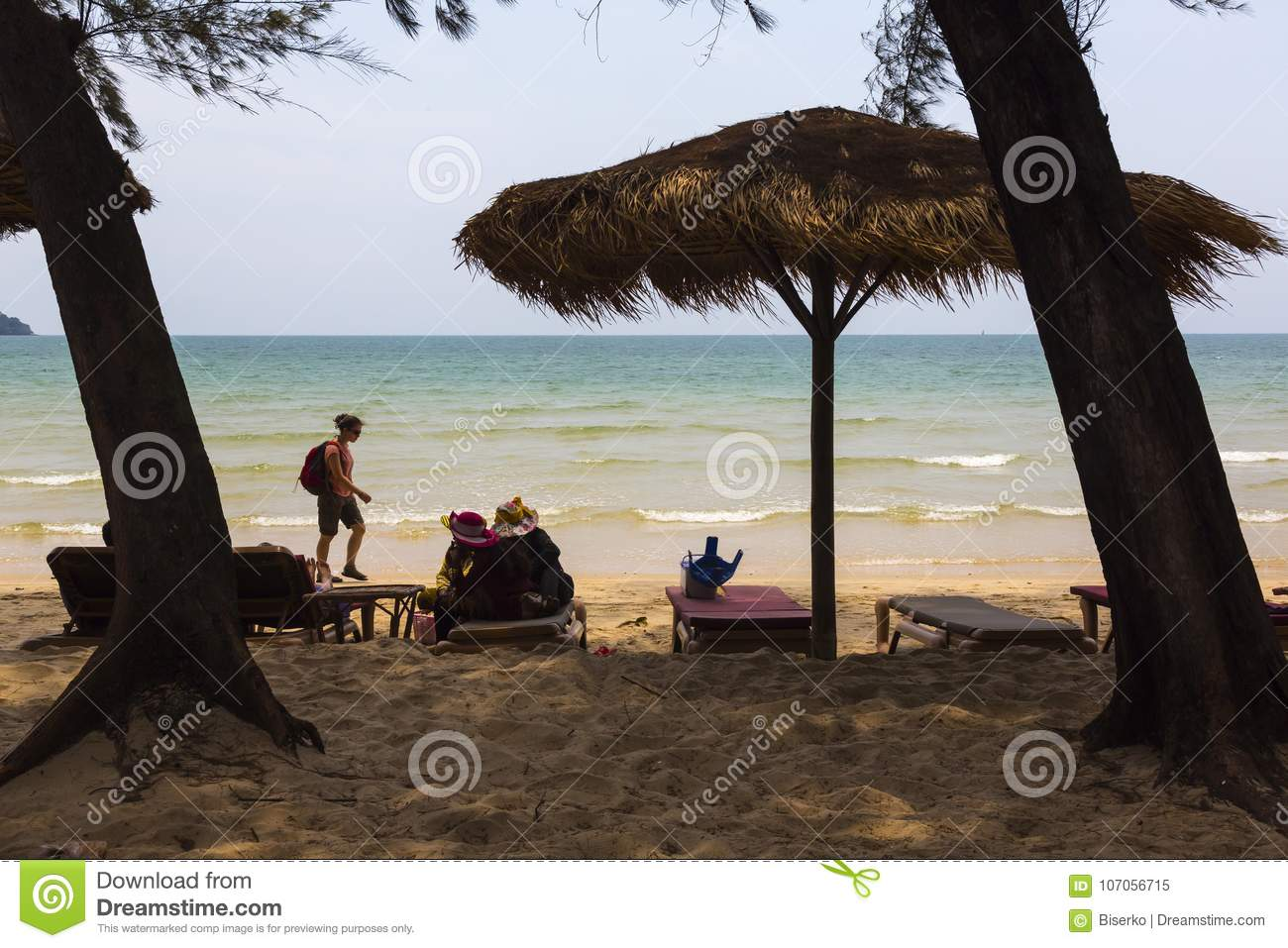 Beach In Cambodia At SOuth China Sea Editorial Image - Image of
