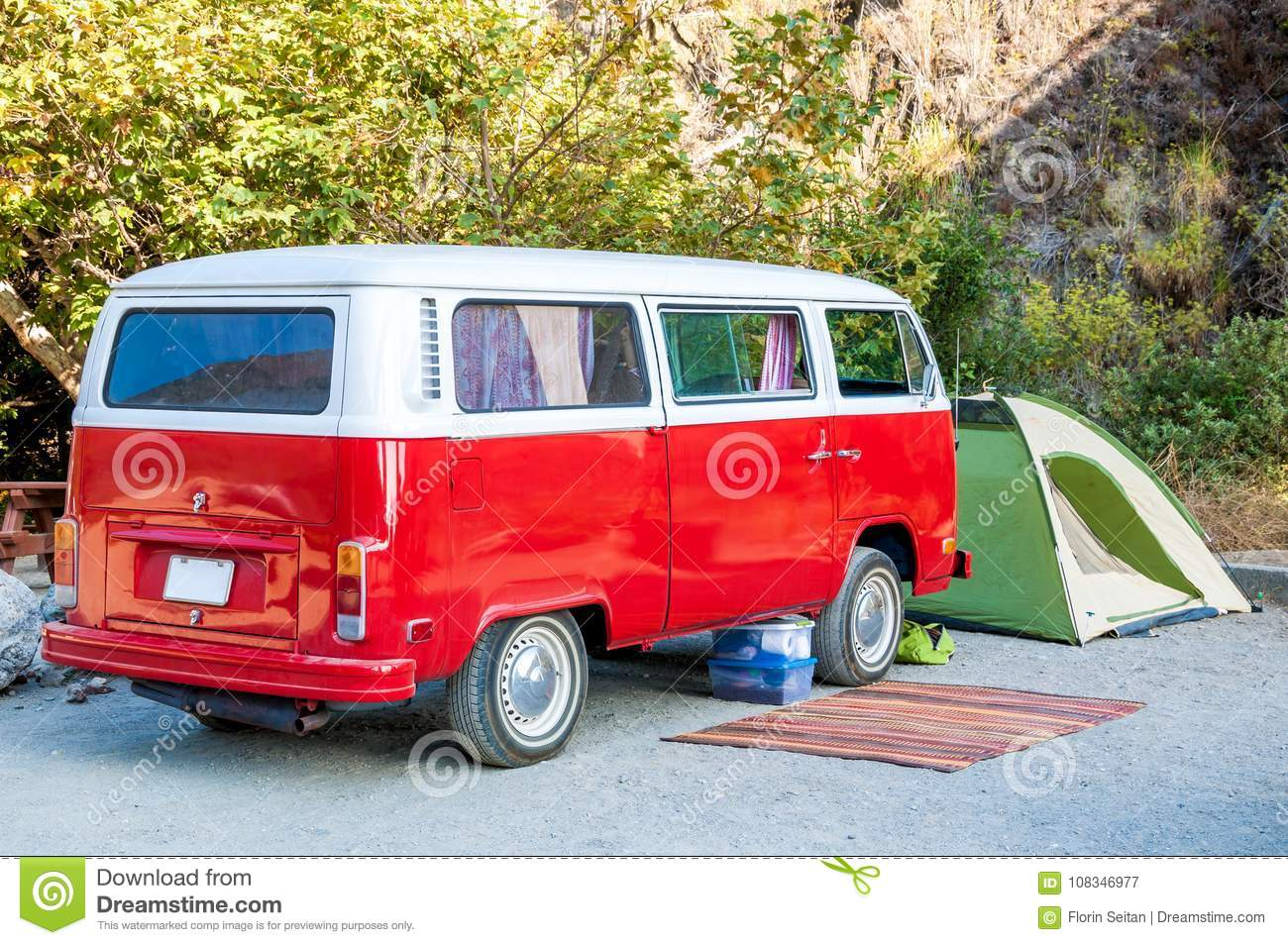 Beach Campsite With Red Hippie Minibus Green Tent And Rustic Rug Stock Image Image Of Concept Minibus 108346977