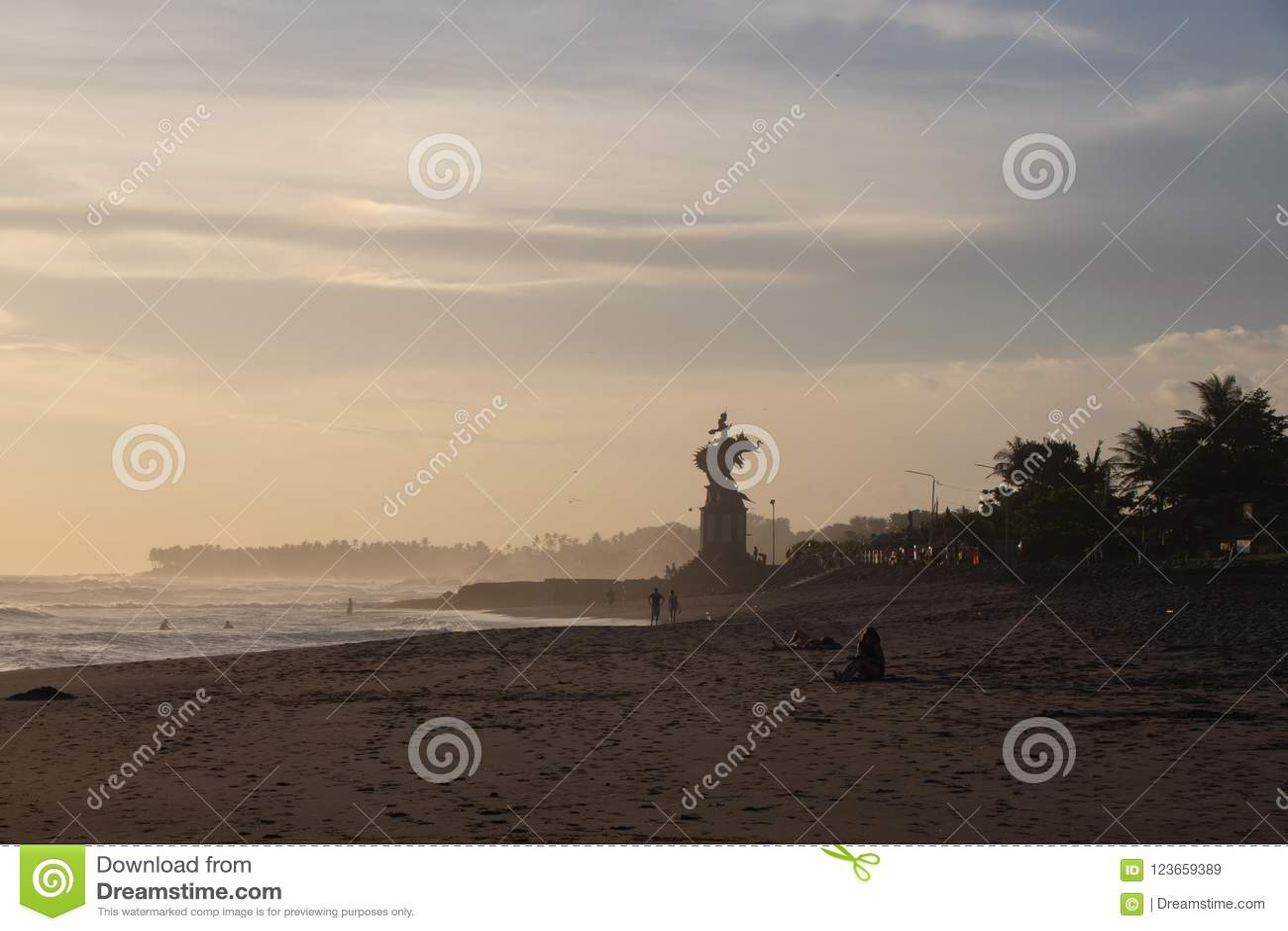 Beach at Canggu in Bali Indonesia at sunset or sunrise