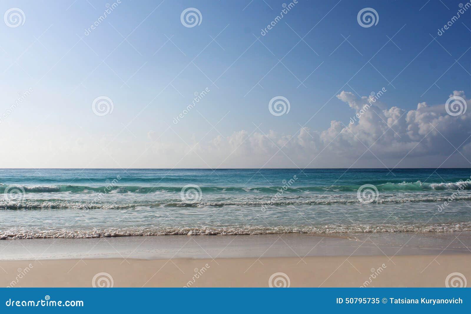 Beach and Caribbean sea, illustration