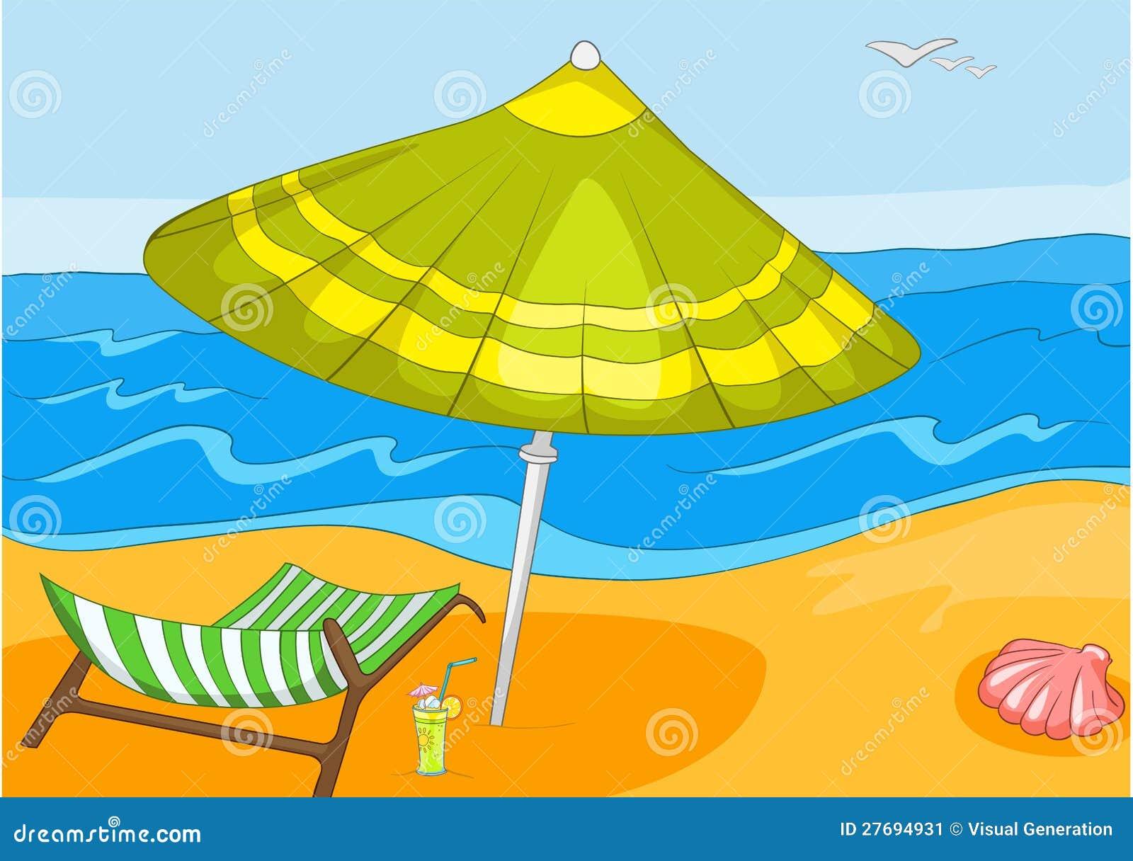 Seascape. Beach, Palms and Surf . Vector Cartoon Background.