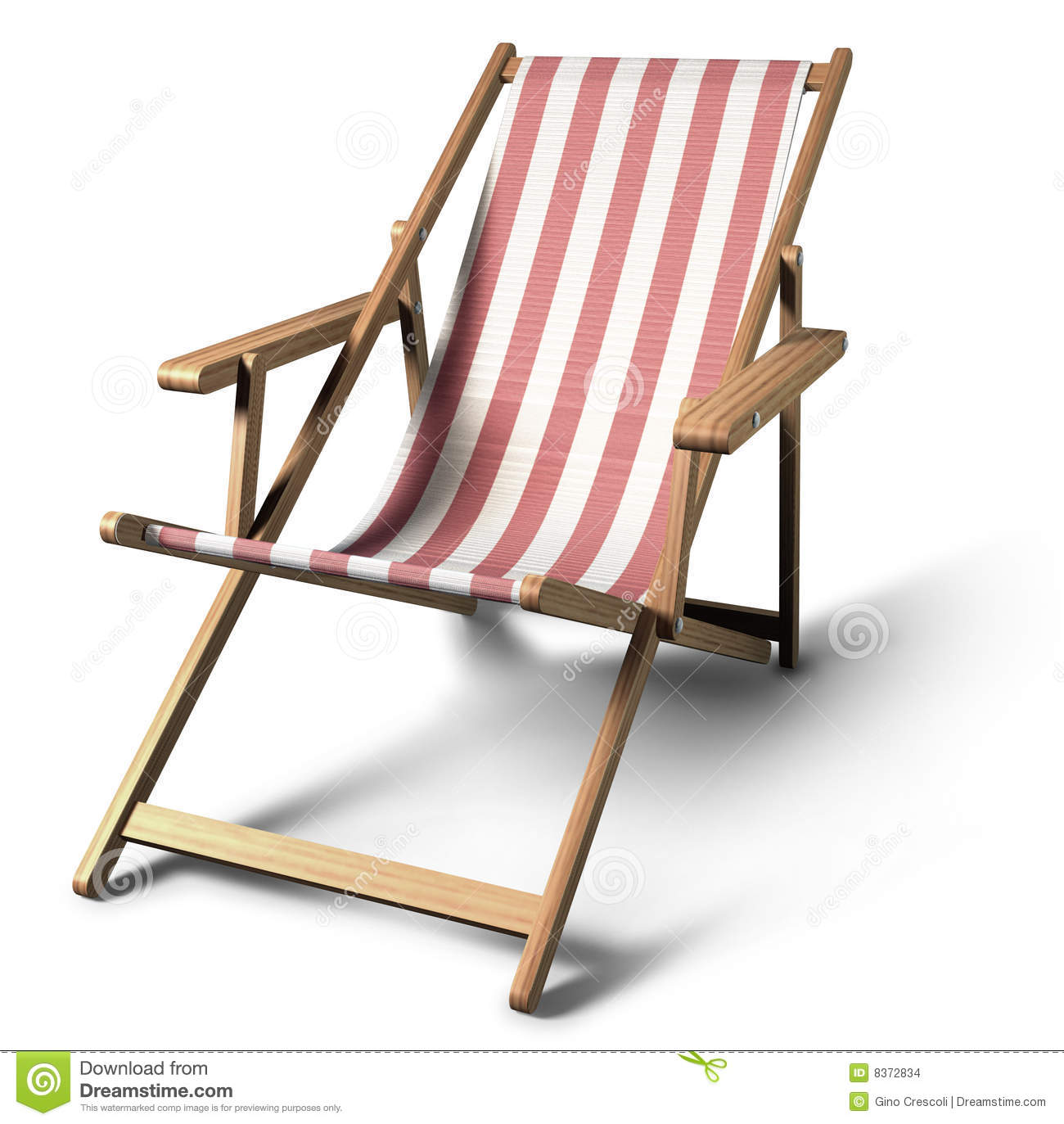 Illustration of a folding beach chair, with clipping path and shadow.