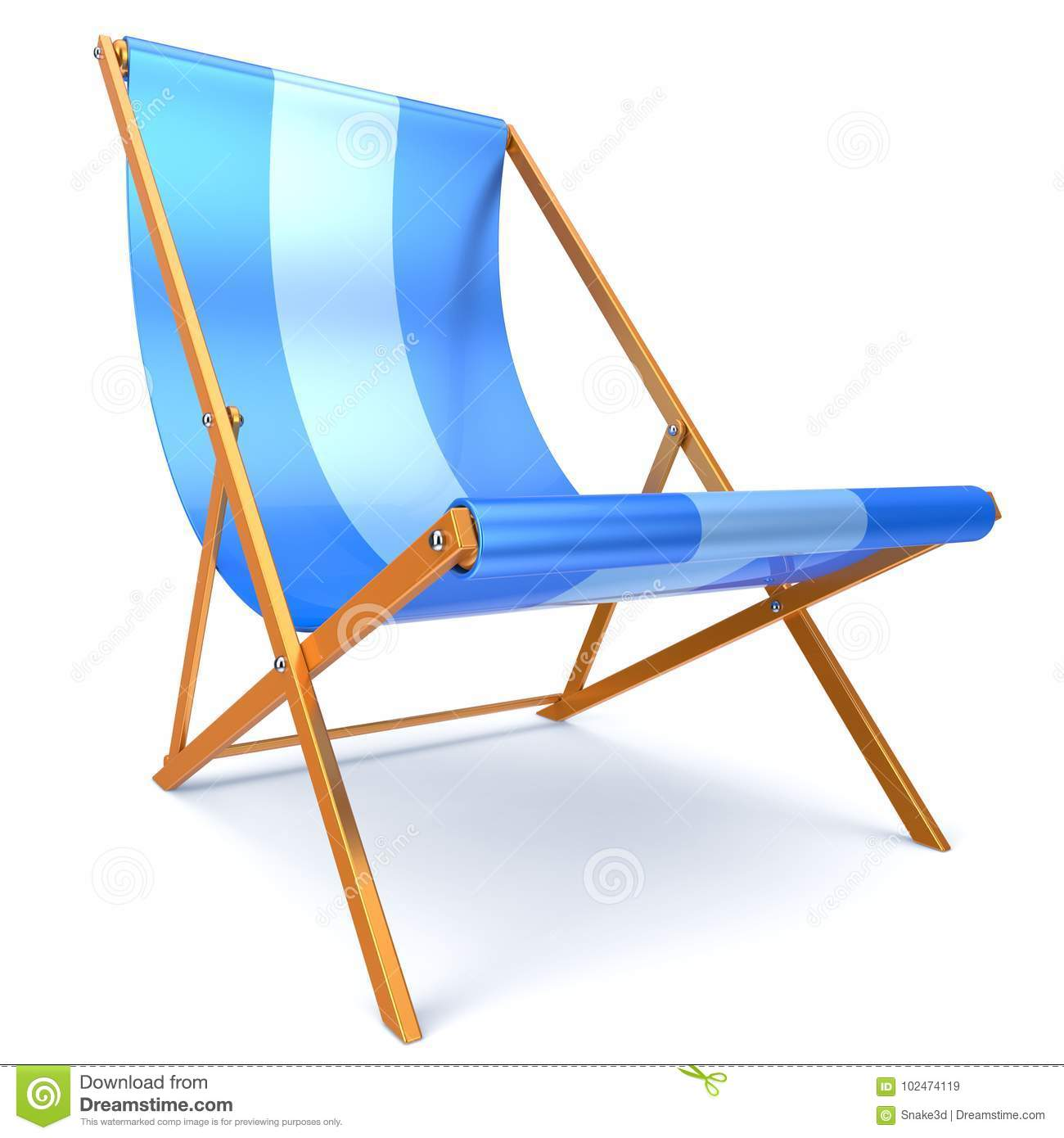 Beach Chair Blue Chaise Longue Nobody Relaxation Abstract Stock