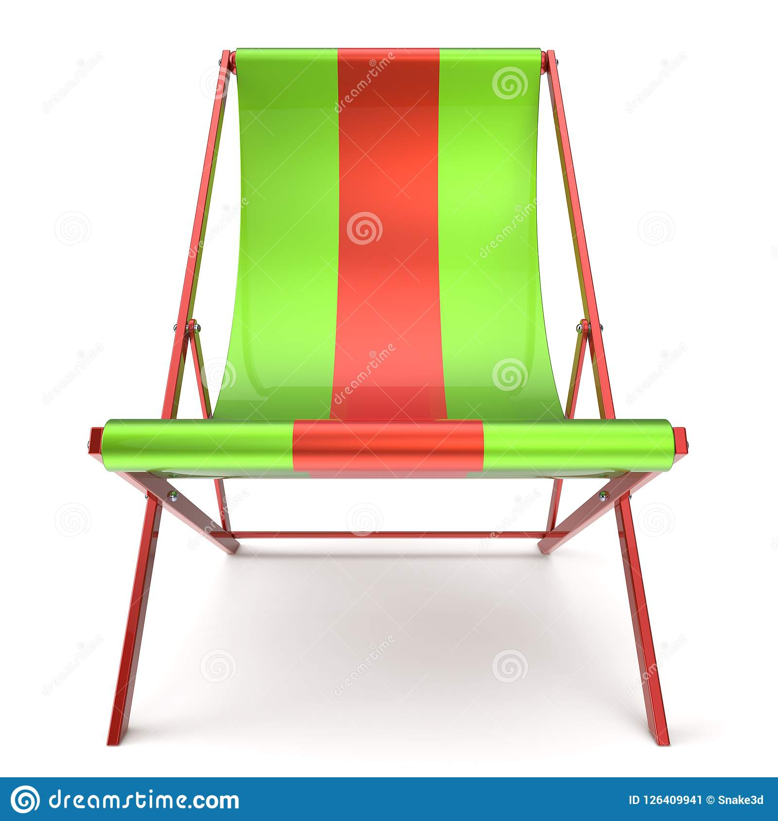 Beach Chair Chaise Longue Green Red Nobody Relaxation Icon Stock