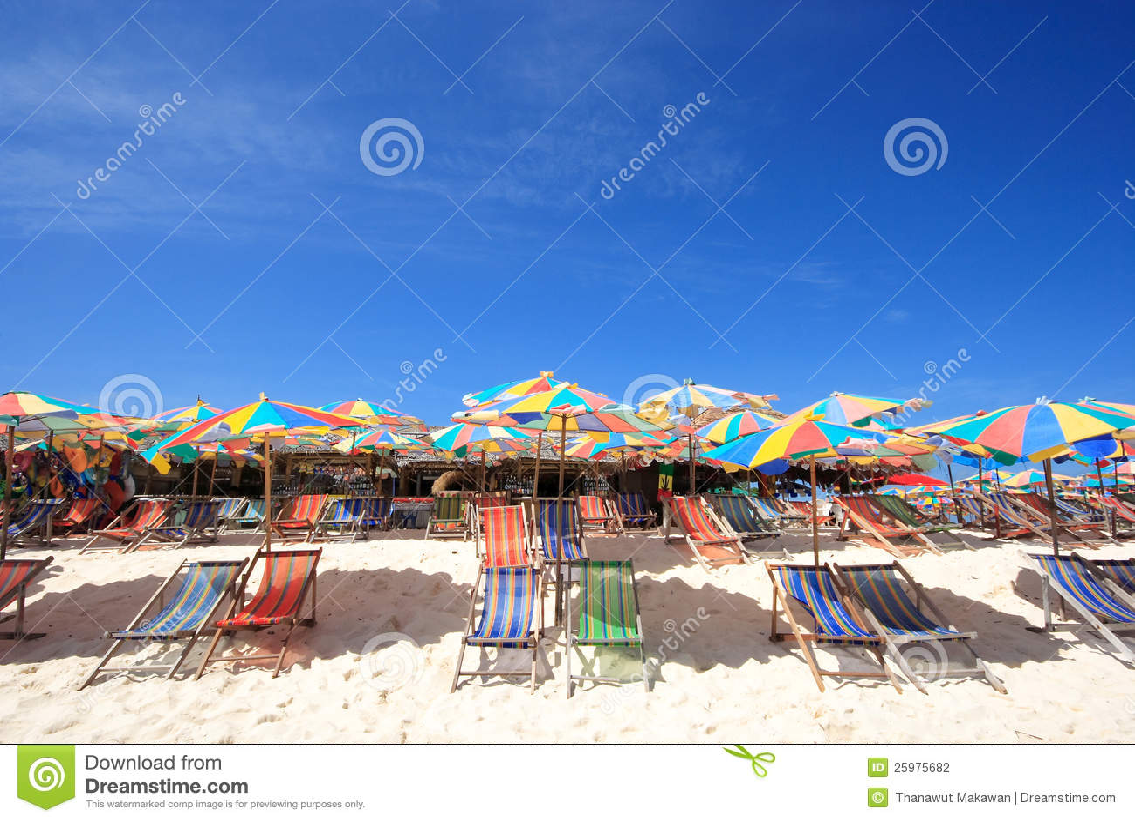 Beach Chair And Colorful Beach Umbrella Stock Photo