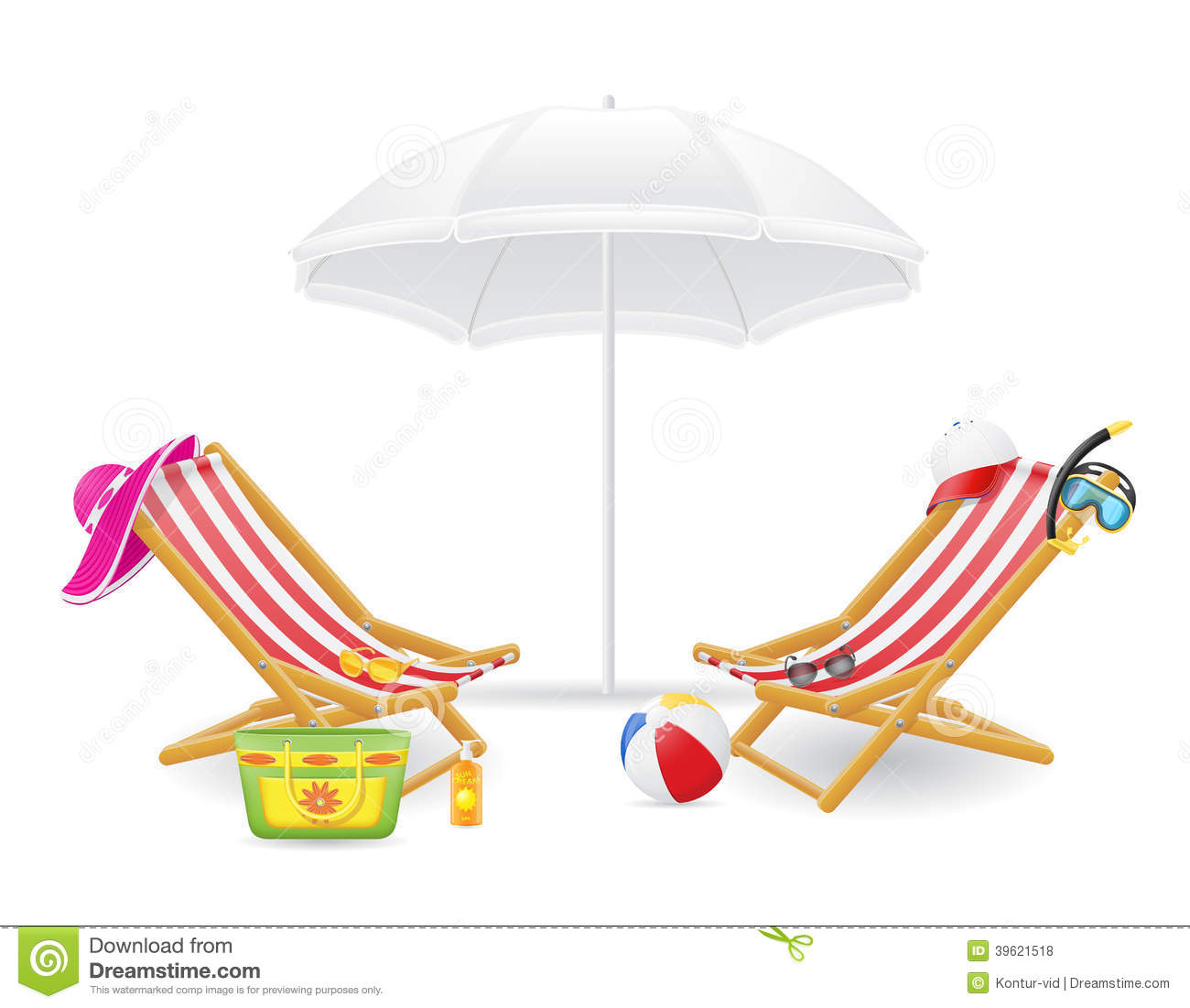 Beach chair and parasol vector illustration stock vector image - Beach Chair And Parasol Vector Illustration Stock Vector