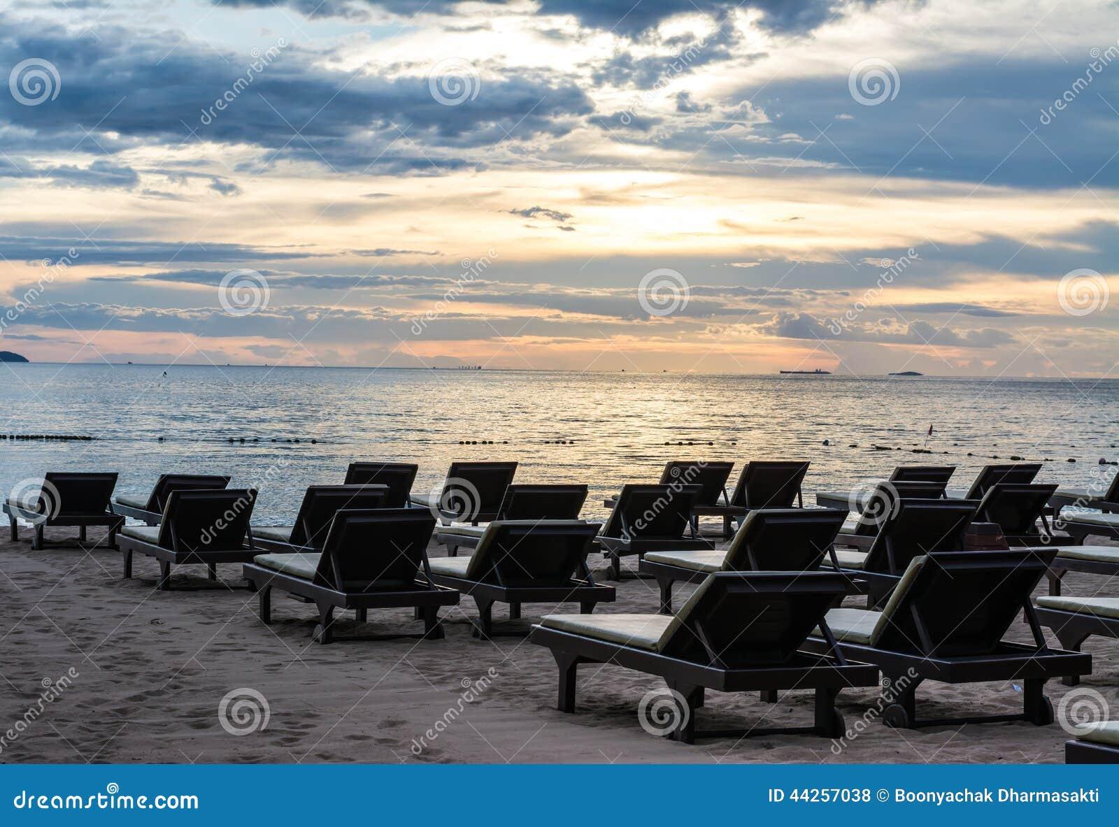 Adirondack Chairs On Beach Sunset