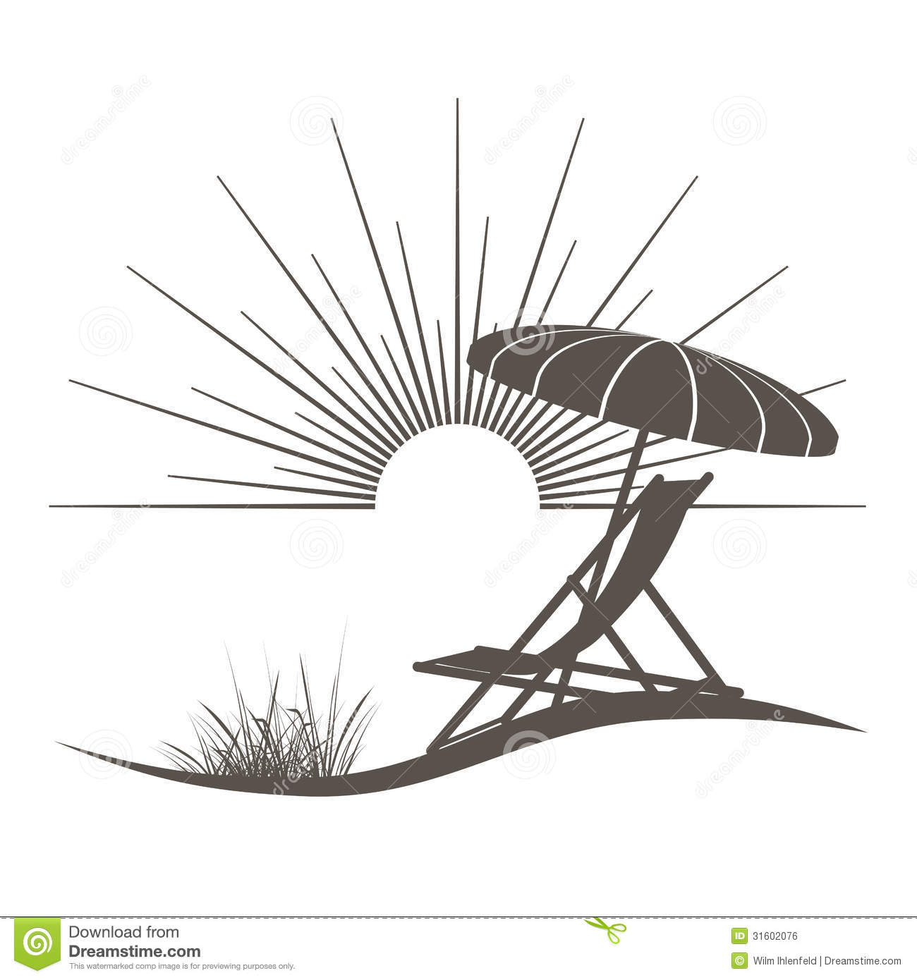 Beach lounge chair drawing - Beach Chair And Sunshade