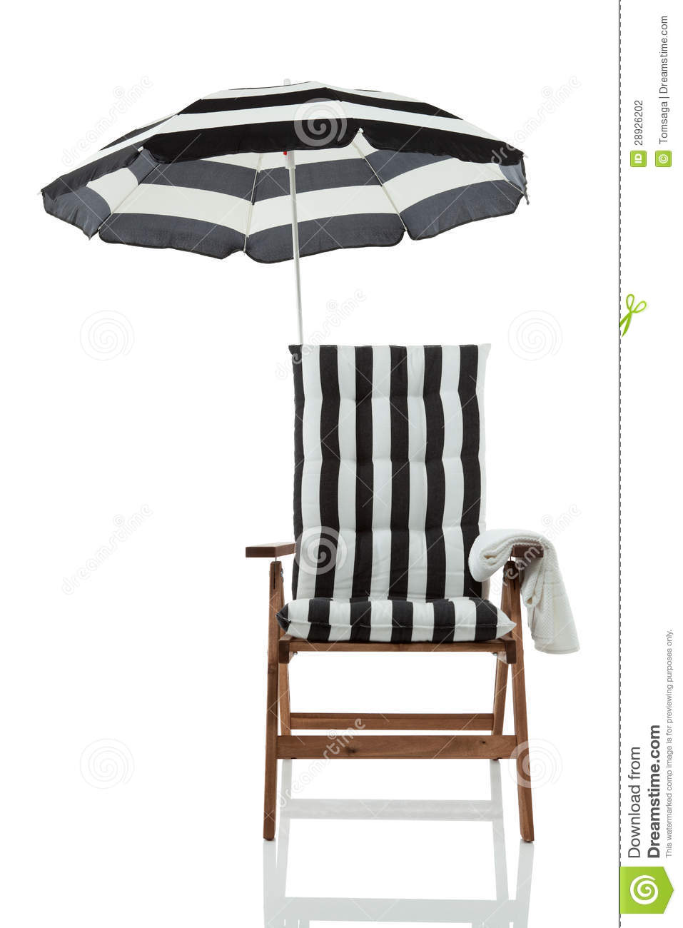 Beach chair and umbrella black and white - Beach Chair With Umbrella Front View