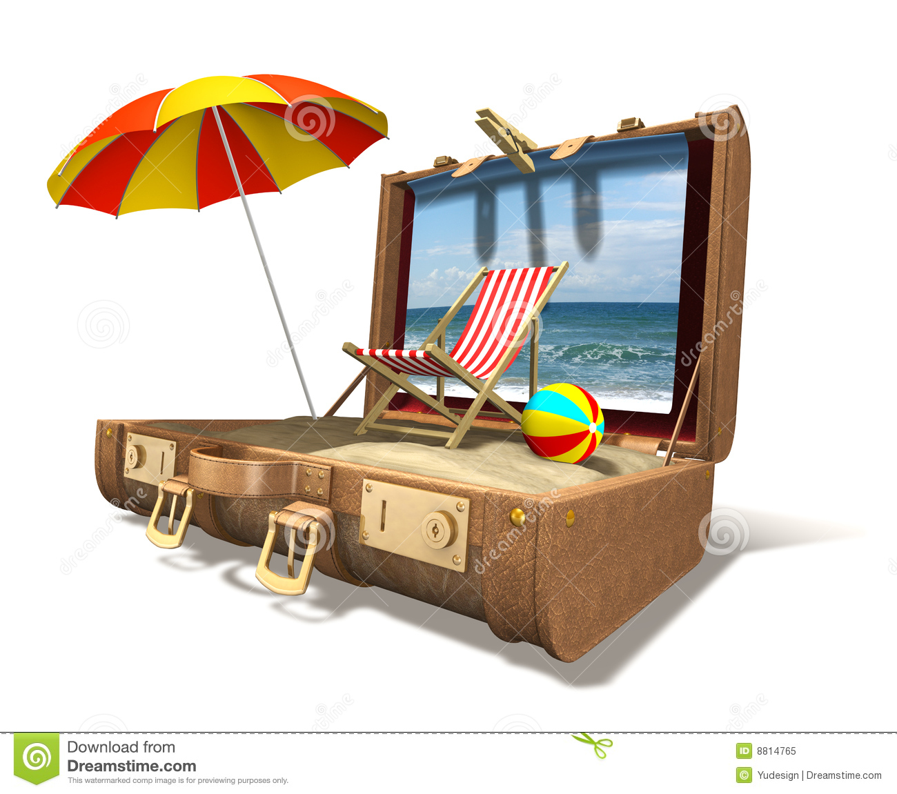 Beach chair umbrella and sand in big suitcase royalty free stock