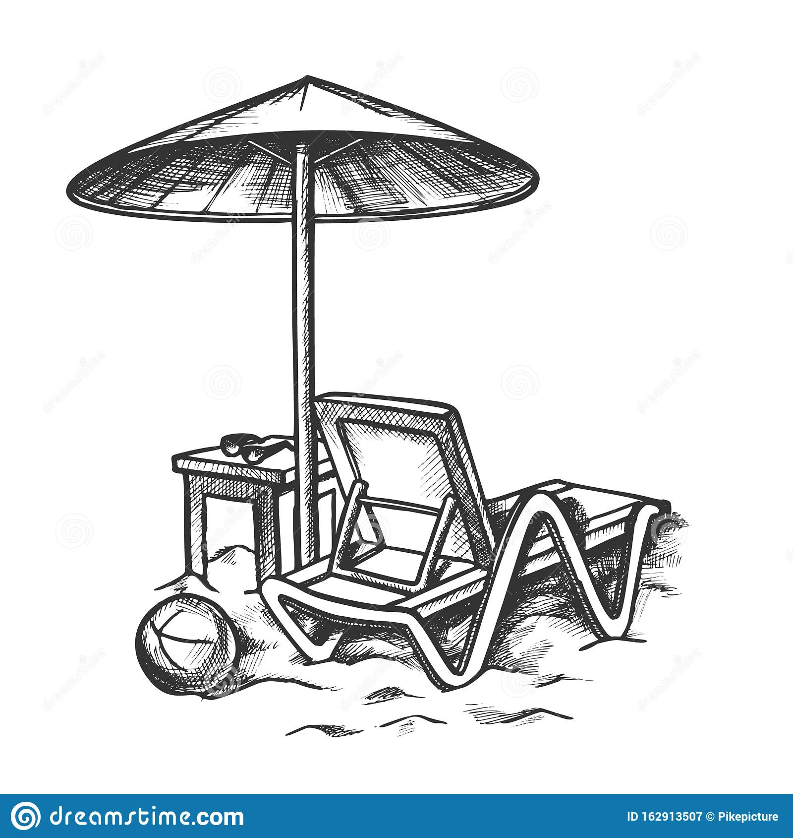 Beach Chair With Umbrella And Stool Retro Vector Stock Vector Illustration Of Element Lounge 162913507
