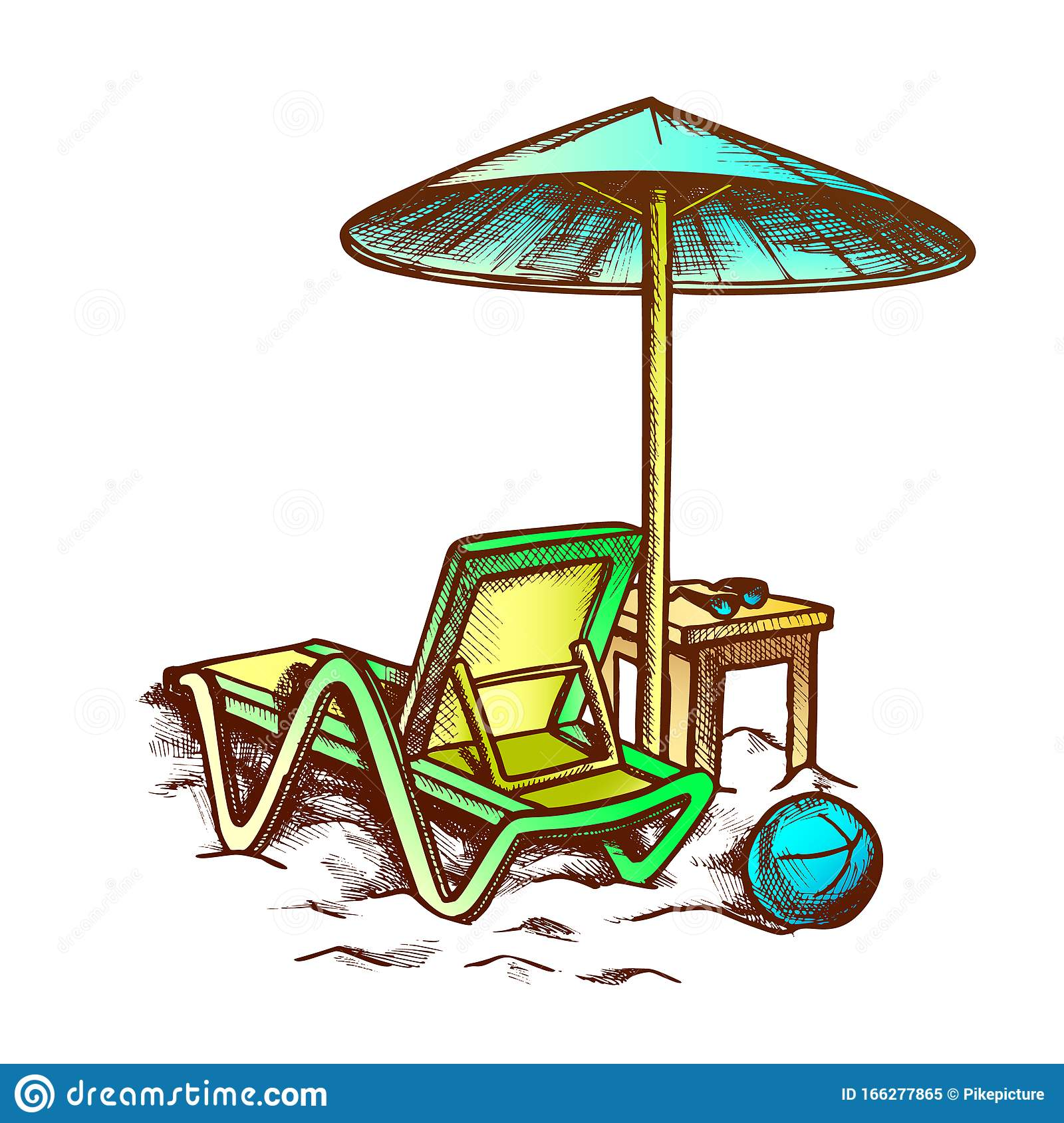 Beach Chair With Umbrella And Stool Retro Vector Stock Vector Illustration Of Outline Retro 166277865