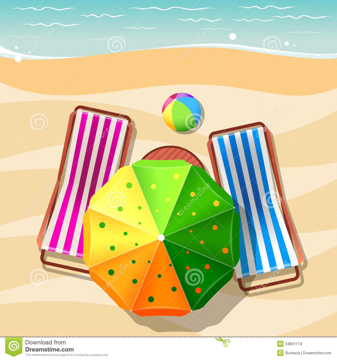 beach chair and umbrella top view stock vector