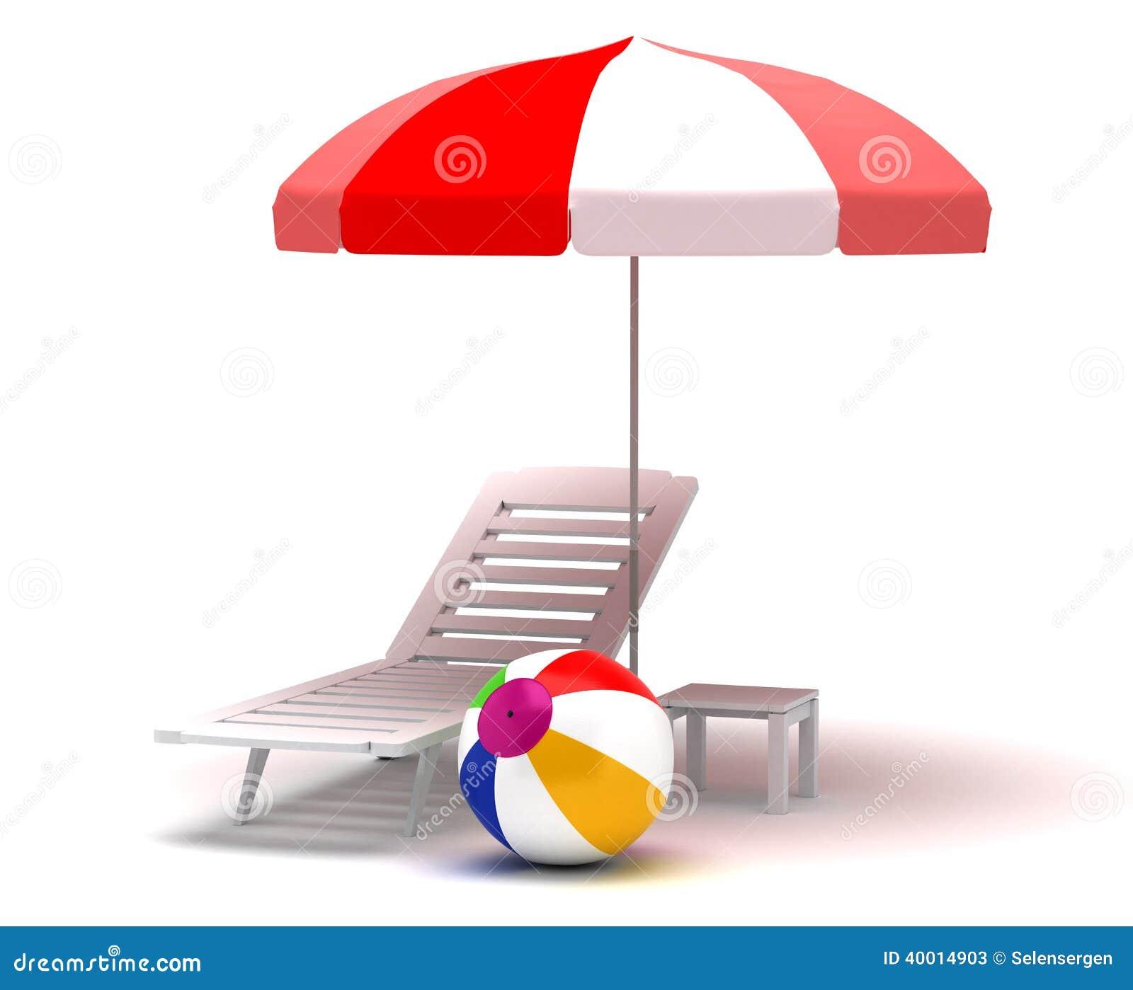 Beach chair and umbrella stock illustration image 40014903
