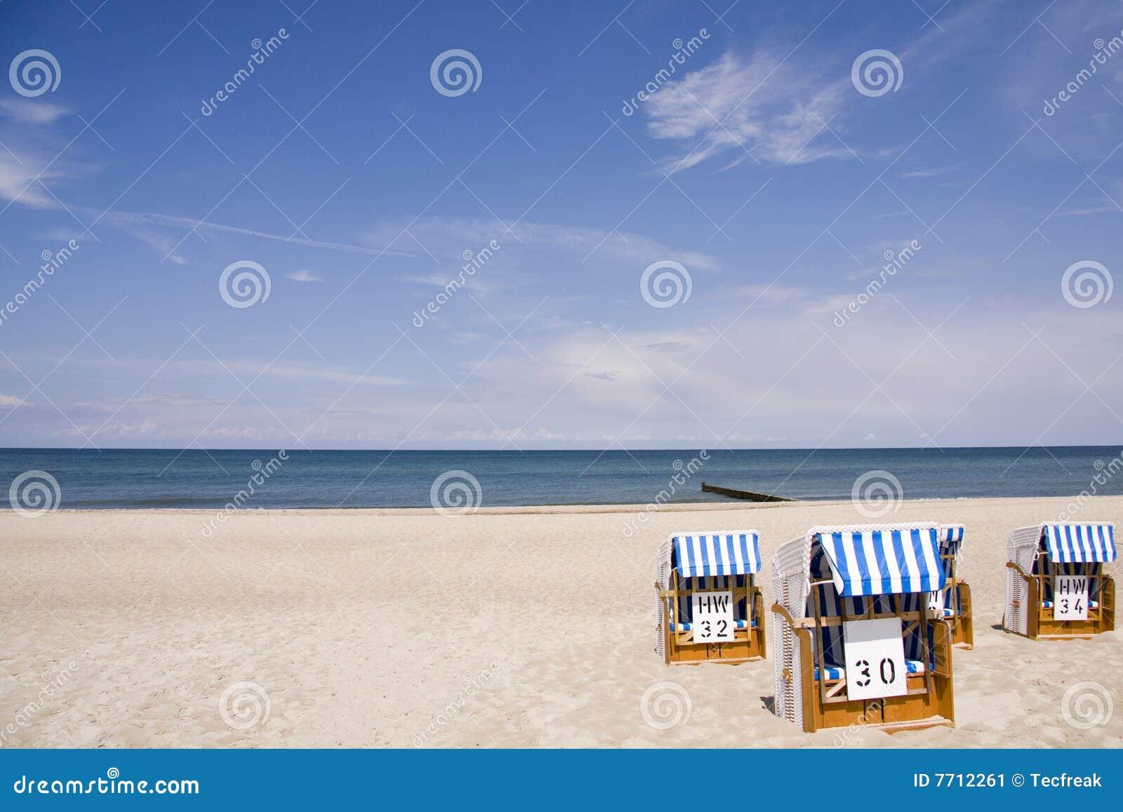 Beach chairs on the Baltic Sea beach