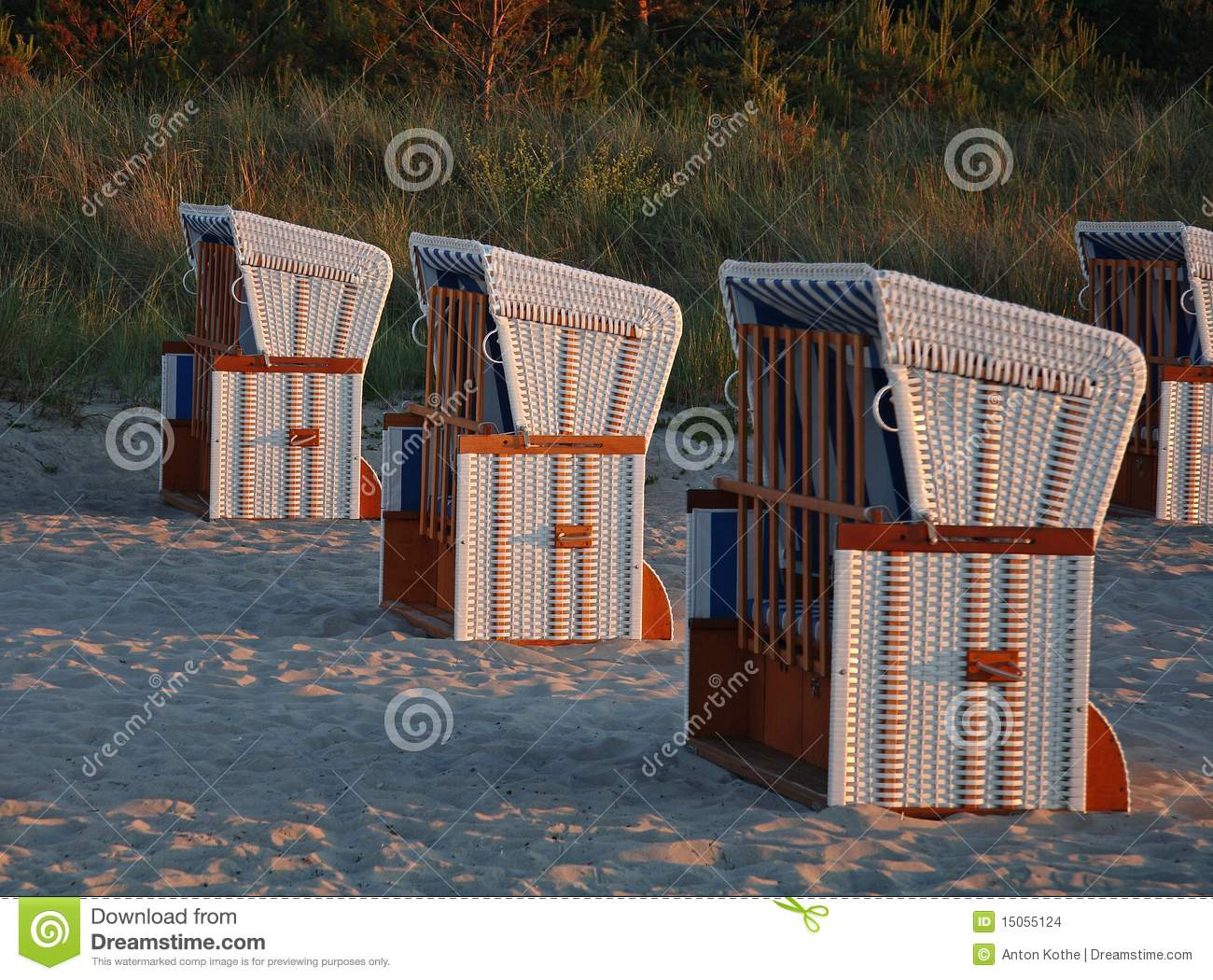 Beach chairs in evening light