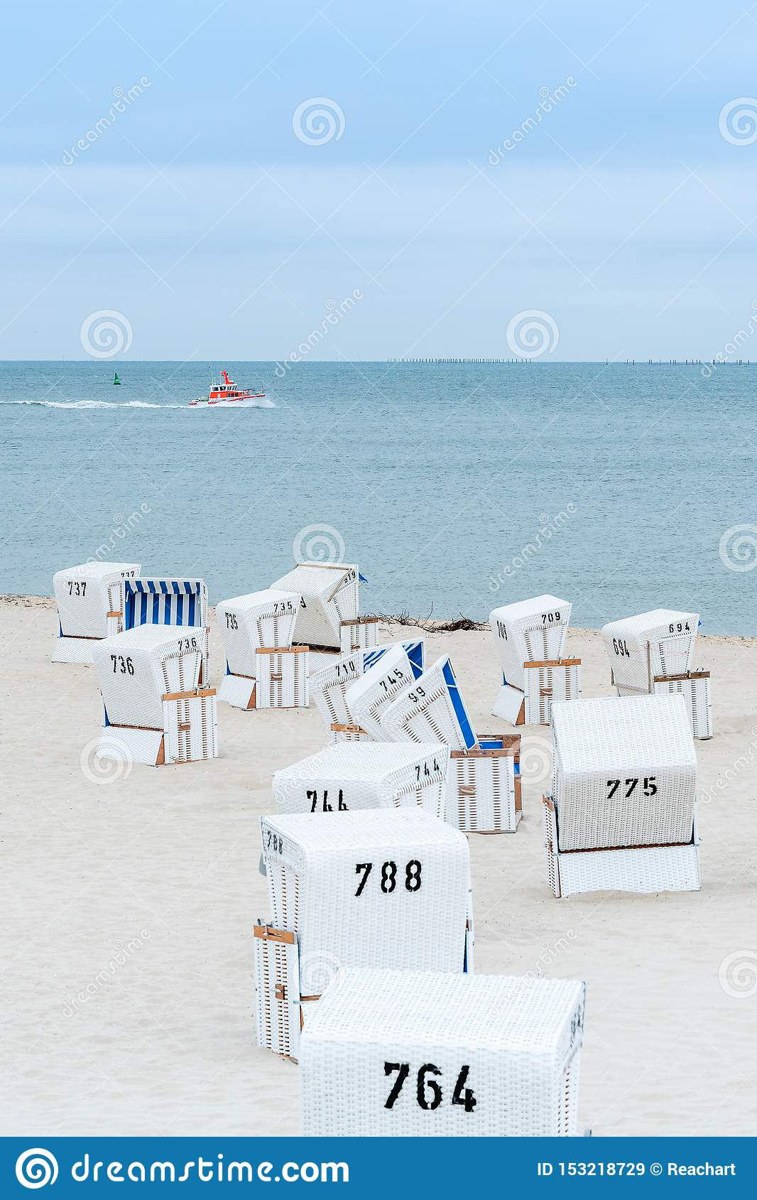 Beach Chairs On The Island Sylt Germany Summer Cloudy Weather