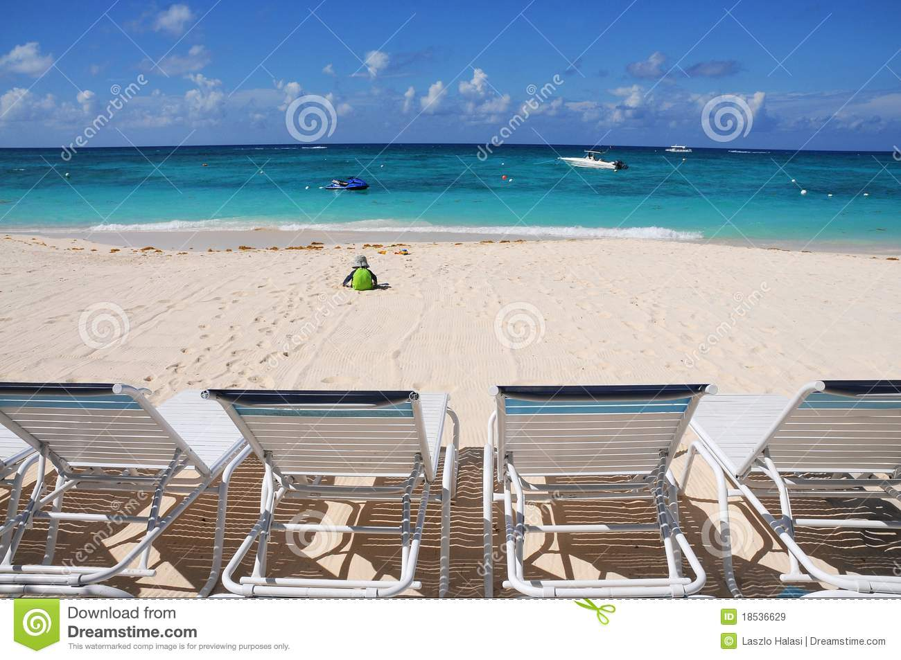 Beach Chairs At Ocean Front Stock Image - Image of break ...
