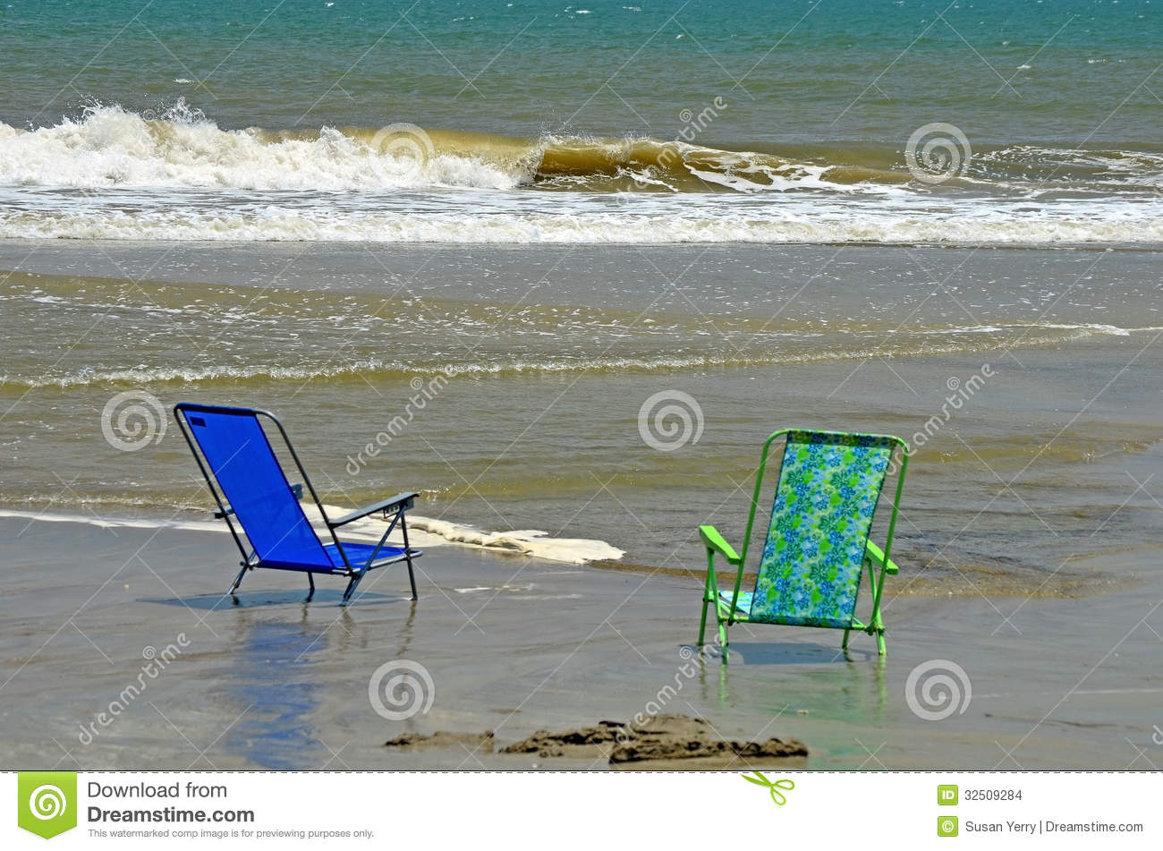 beach chairs ocean water sand peaceful stock photo image of edge