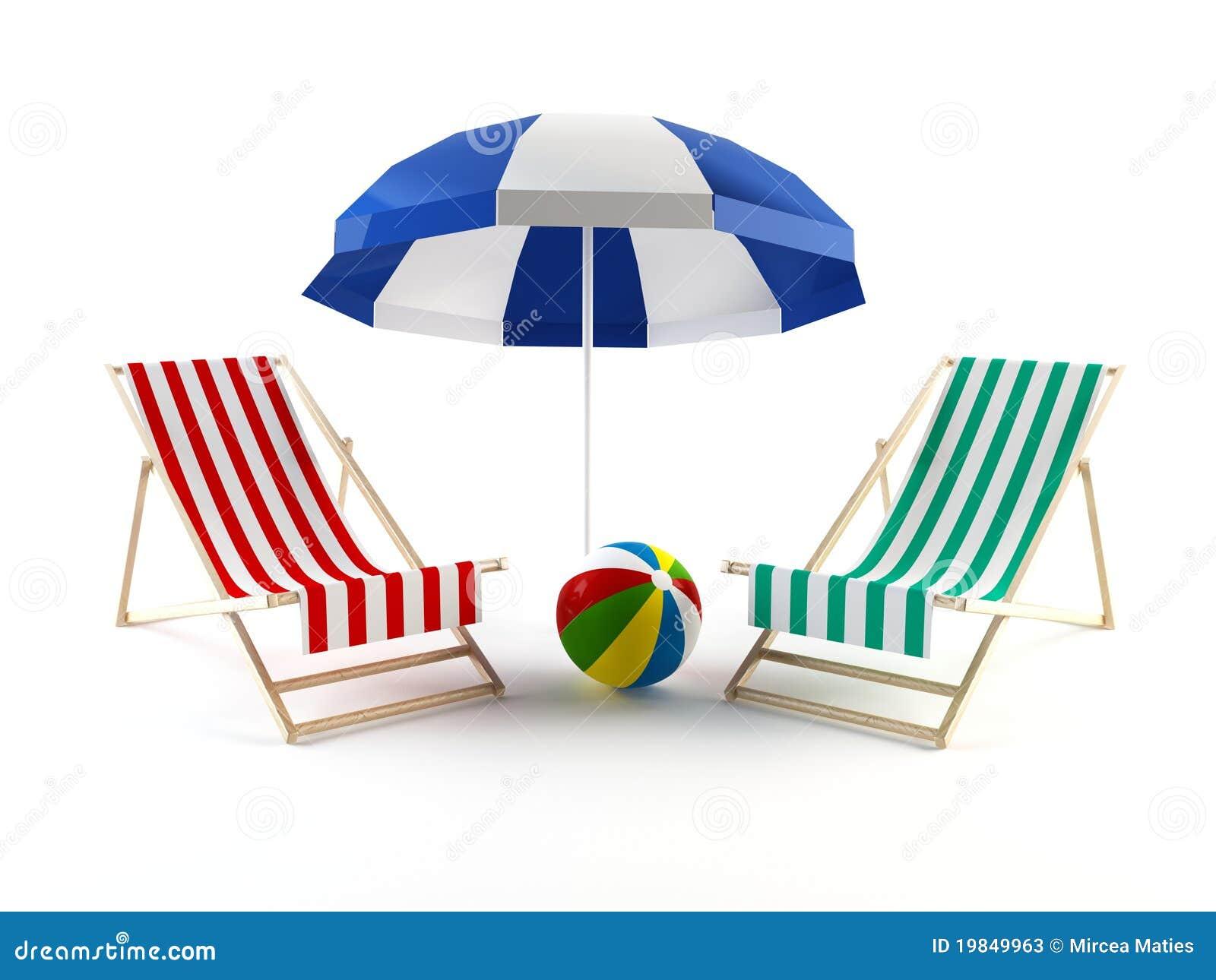 Beach Chairs And Umbrella Stock Illustration Illustration Of