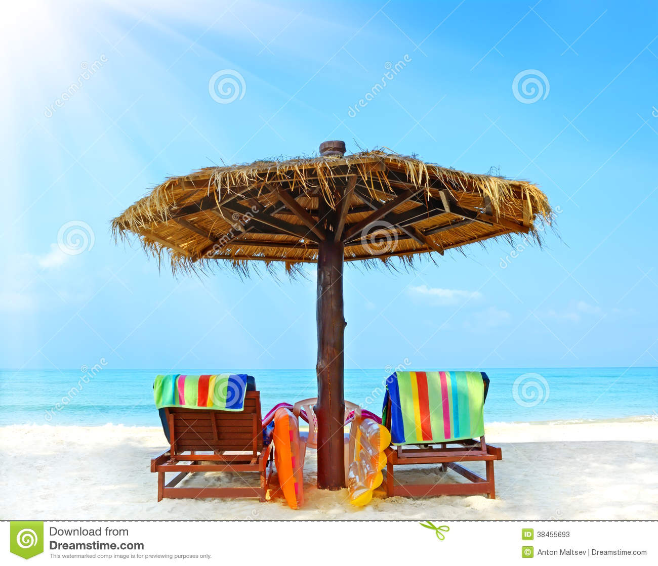 Beach Chairs With Umbrella Stock s Image