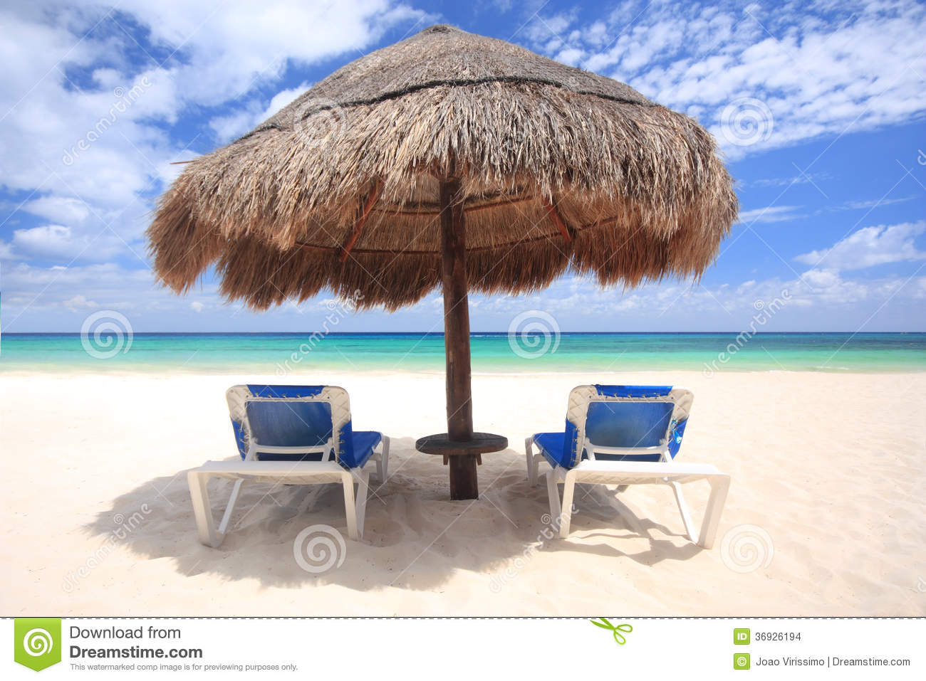 beach chairs under palapa thatched umbrella stock images image 36926194. Black Bedroom Furniture Sets. Home Design Ideas
