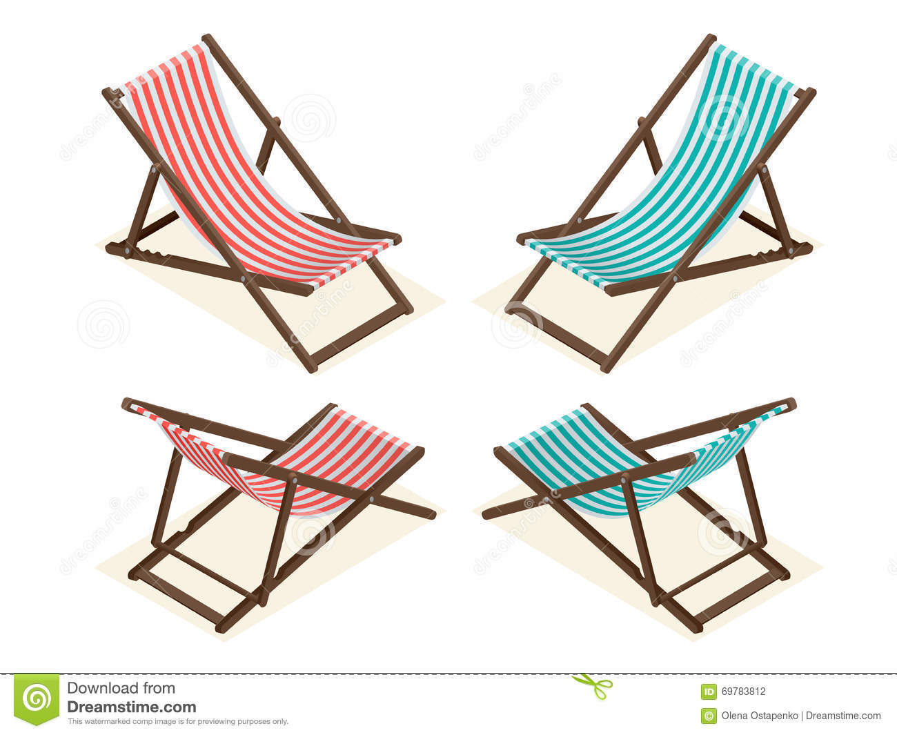 Beach chairs on white background wooden beach chaise for Chaise longue de plage