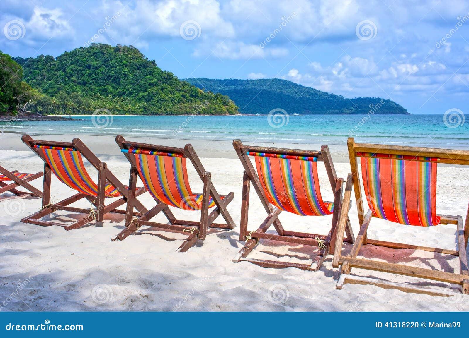 Beach Chairs The White Sand Beach Stock Image