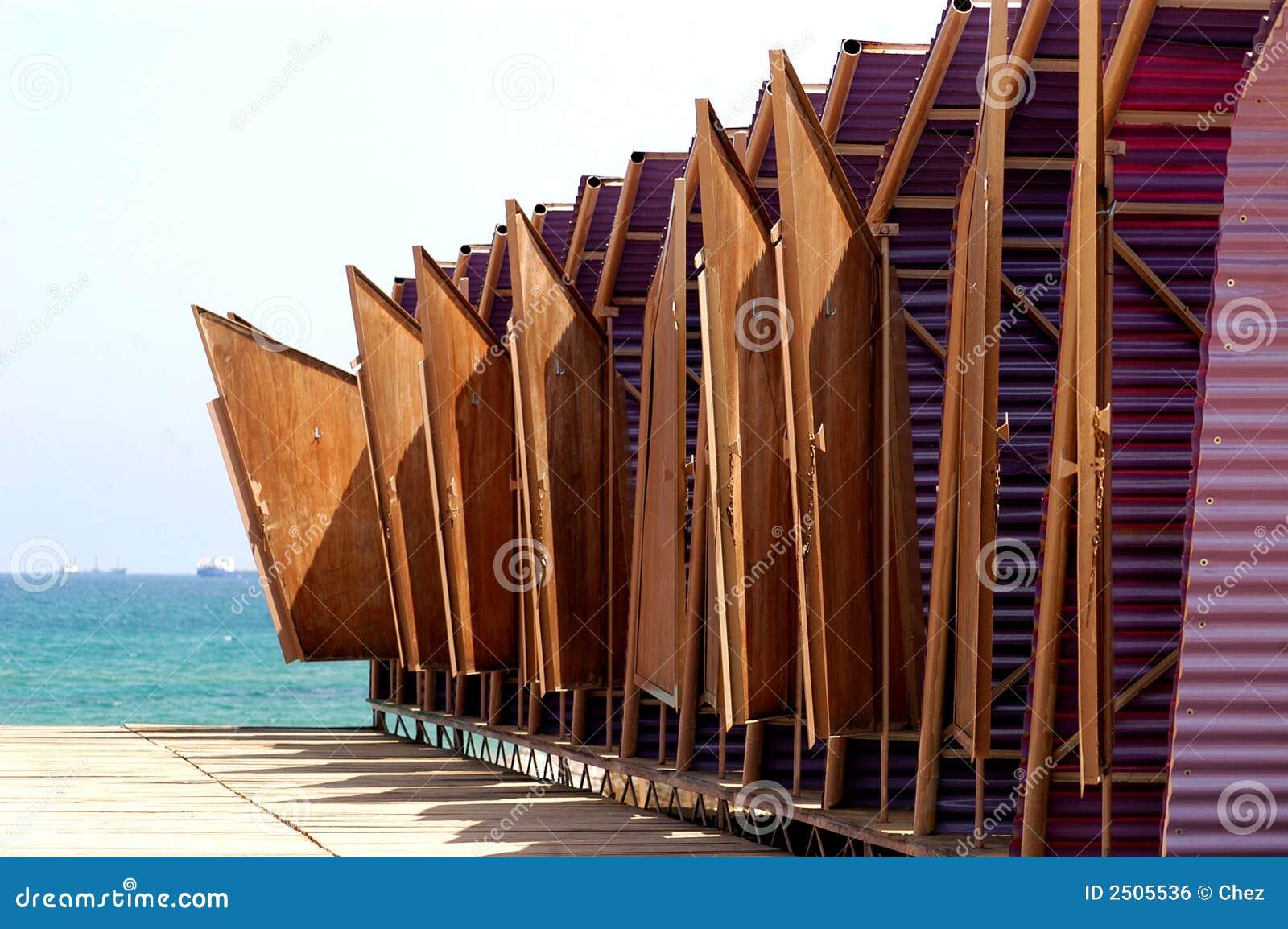 Beach Changing Huts Royalty Free Stock Image Image 2505536