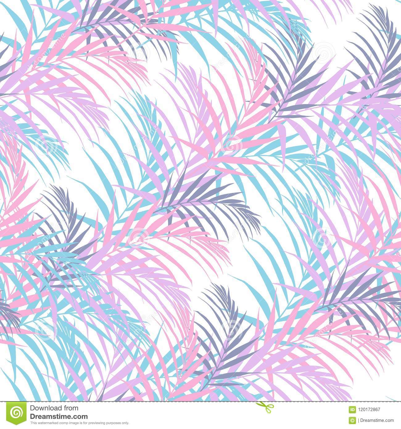 Beach Cheerful Seamless Pattern Wallpaper Of Tropical Candy Color Palm Leaves Of Palm Trees On A White Background Stock Illustration Illustration Of Fabric Design 120172867