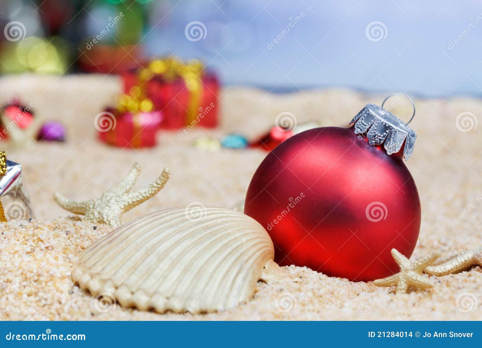 Christmas beach ornaments - Beach Christmas Ornaments Stock Images