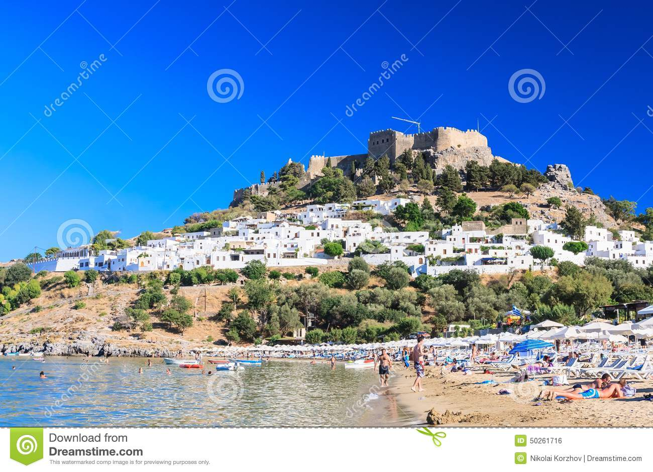 Beach In The City Lindos Rhodes Island Greece Editorial Image