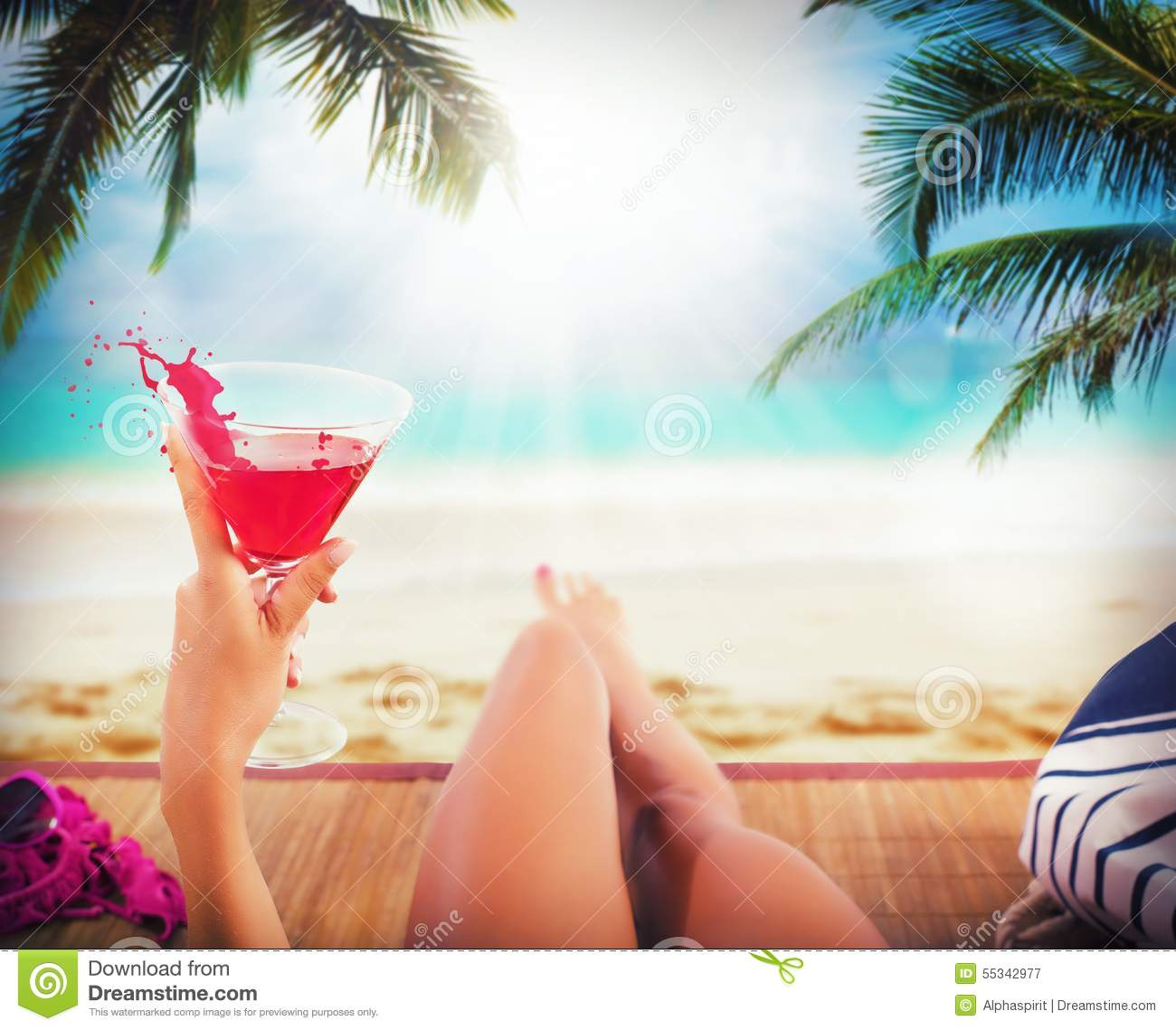 Woman With Beautiful Body In Bikini At Beach Stock Image: Beach And Cocktail Stock Image. Image Of Glass, Beverage