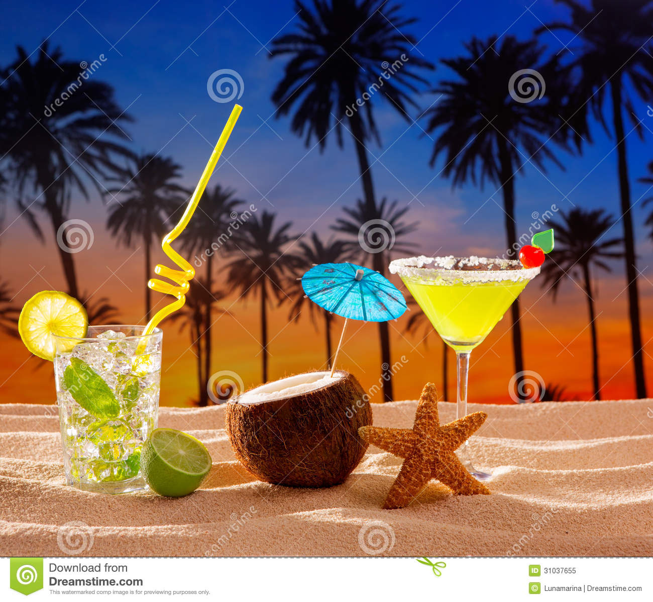 beach cocktail sunset on palm tree sand mojito margarita royalty free stock photo image 31037655. Black Bedroom Furniture Sets. Home Design Ideas